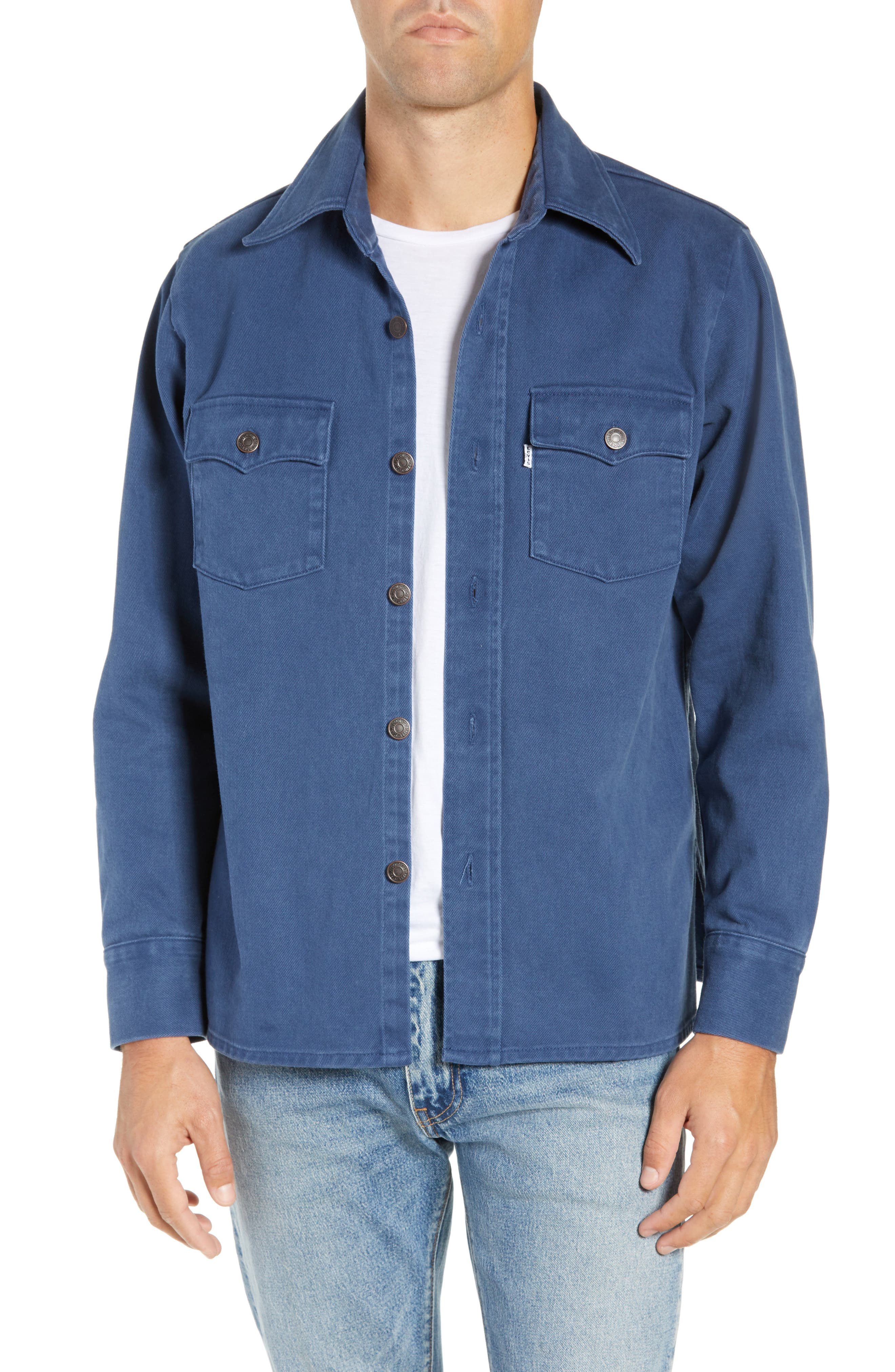 Classic Fit Shirt Jacket,                         Main,                         color, DARK BLUE