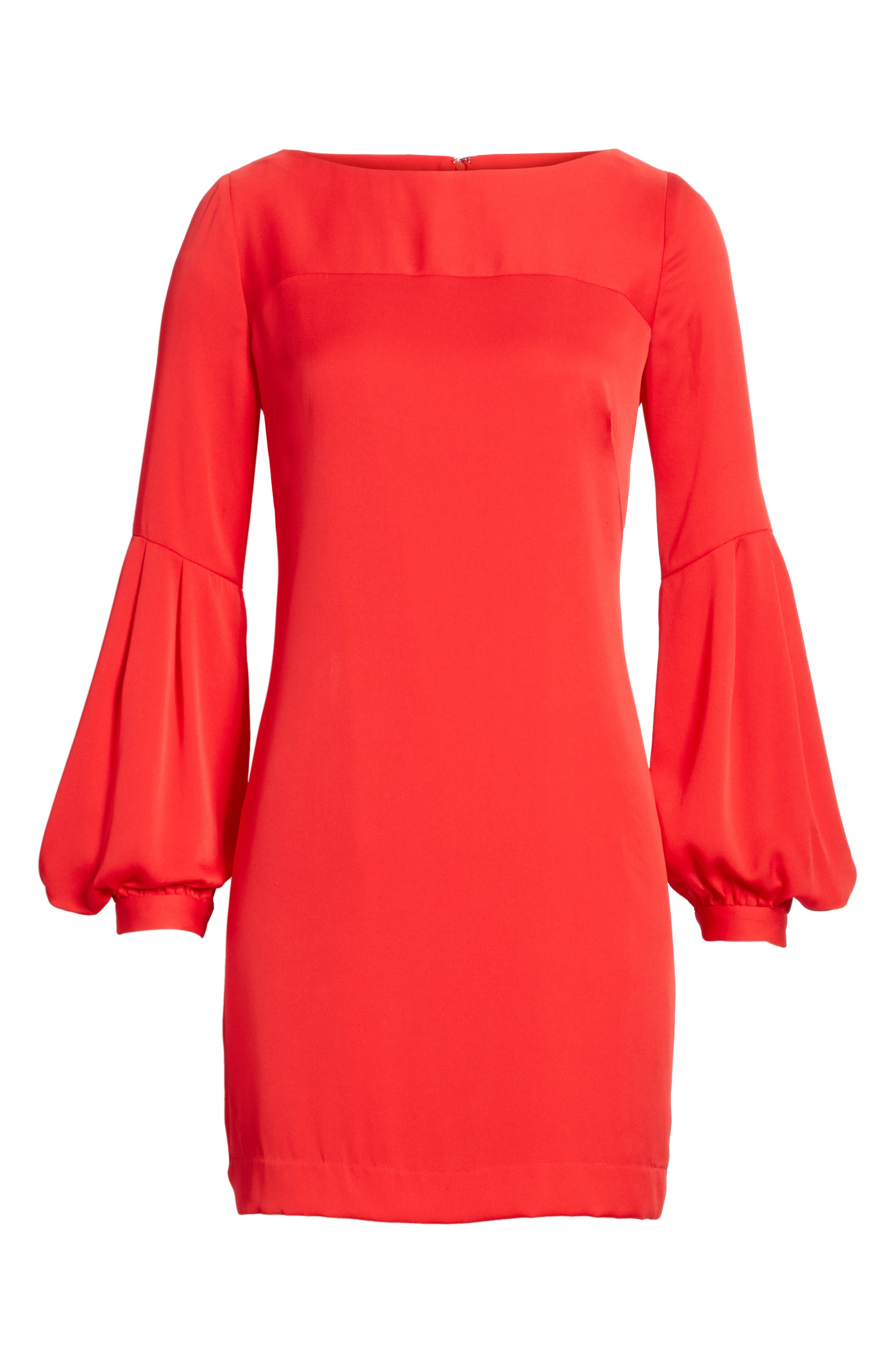 Shana Stretch Silk Bishop Sleeve Dress,                             Alternate thumbnail 6, color,                             649