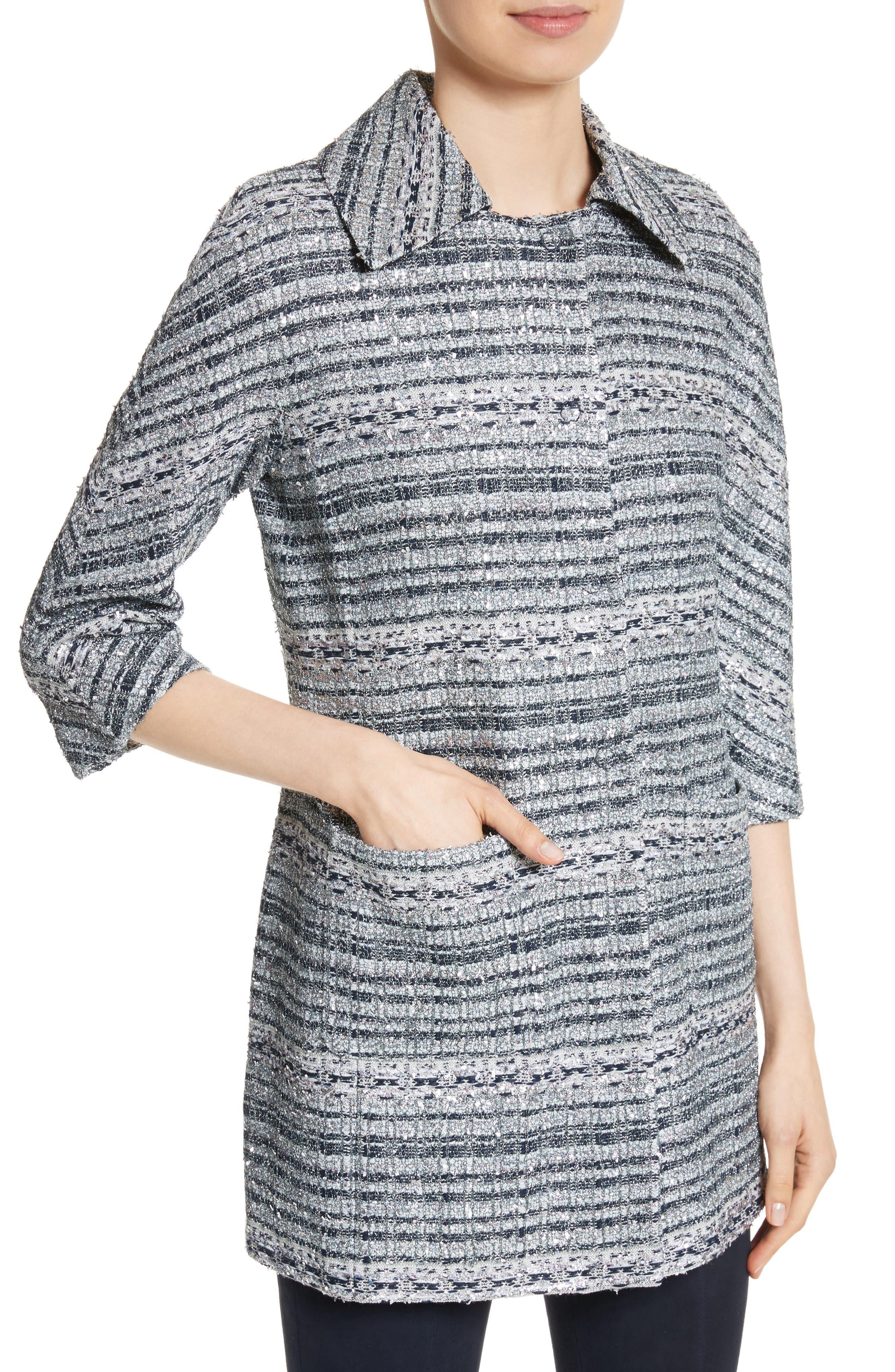 Lacquered Metallic Ribbon Knit Jacket,                             Alternate thumbnail 4, color,