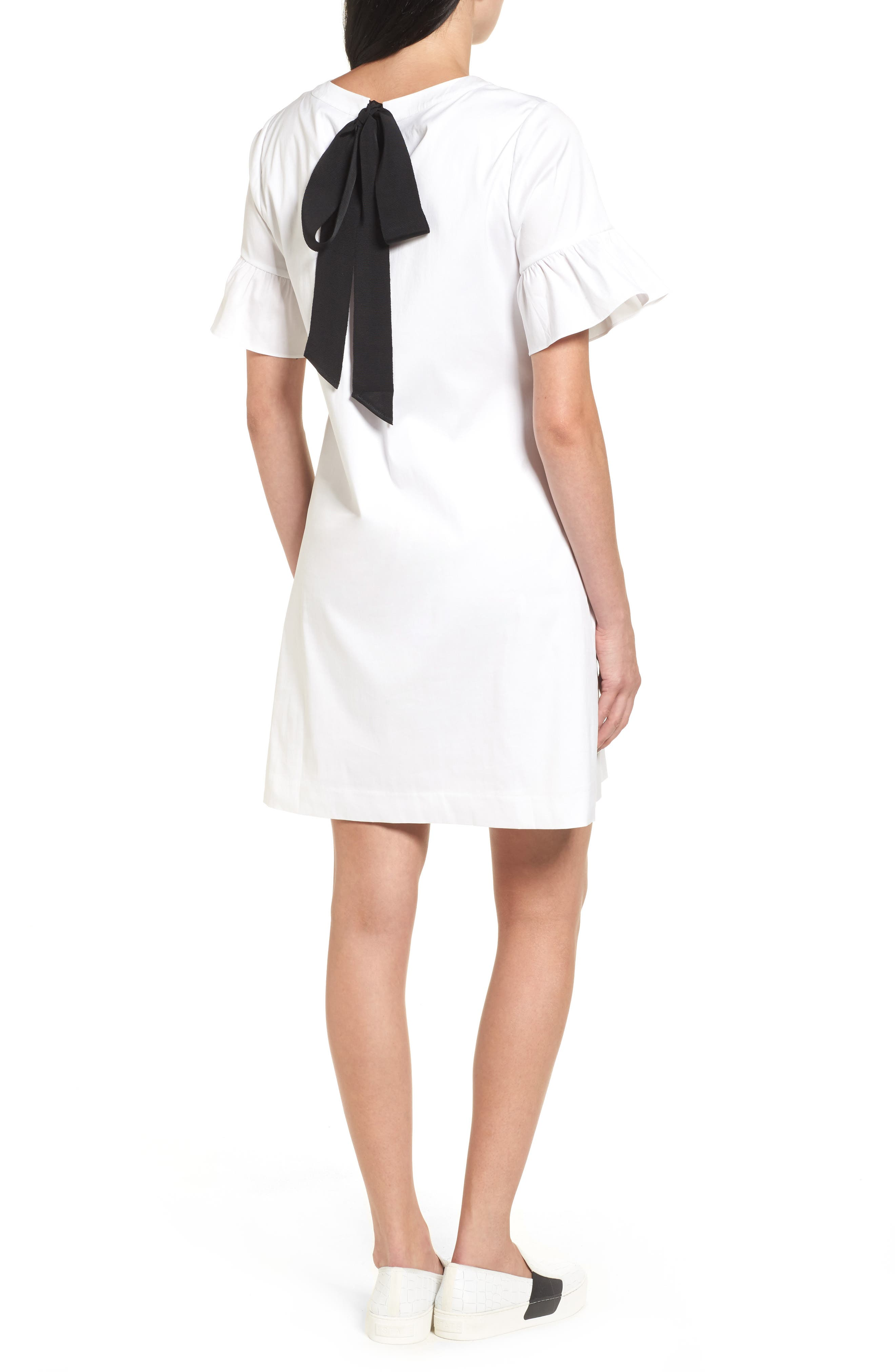 Tie Back Ruffle Sleeve Dress,                             Alternate thumbnail 2, color,                             100