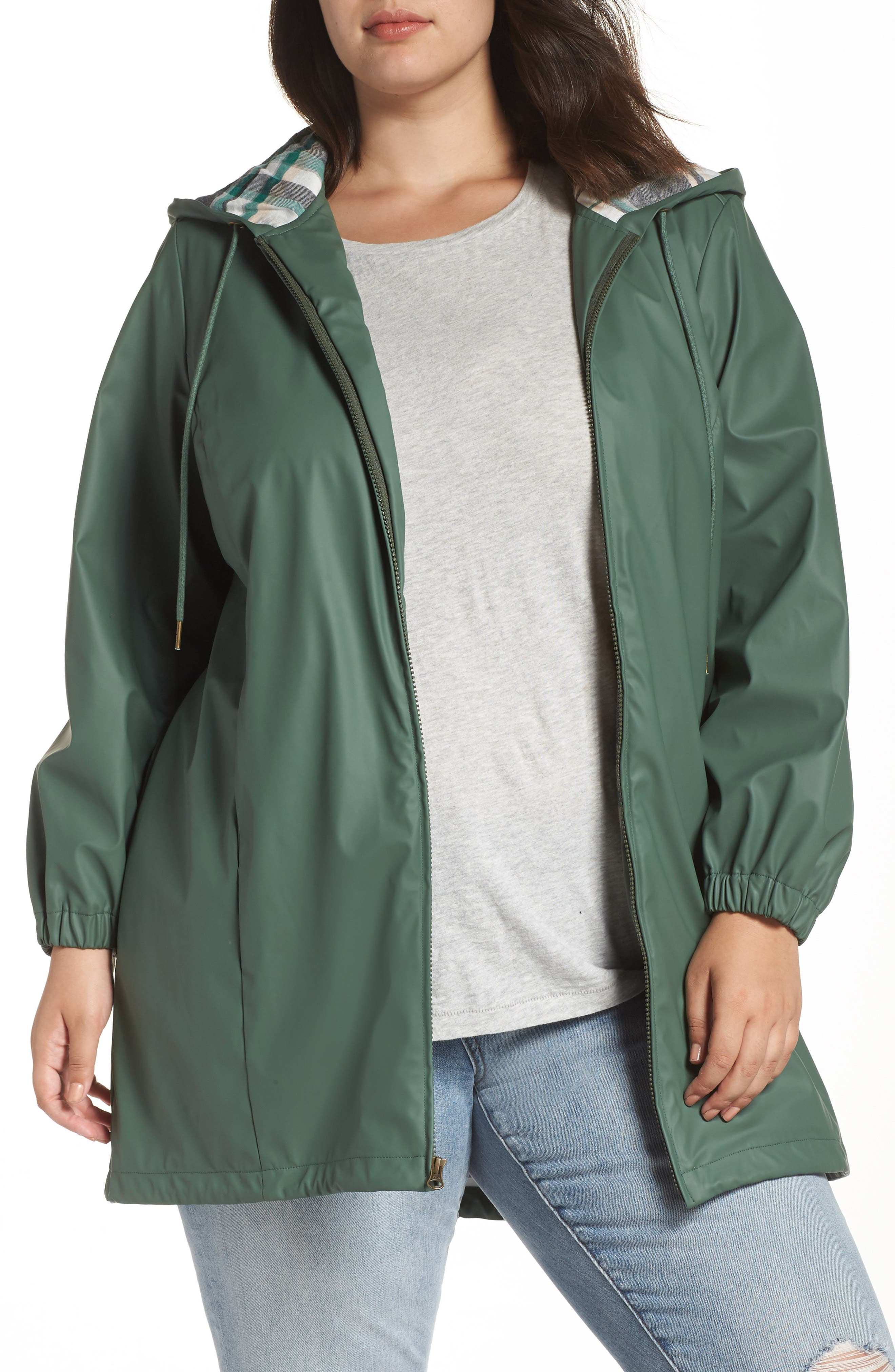 Hooded Rain Jacket,                         Main,                         color, GREEN DUCK