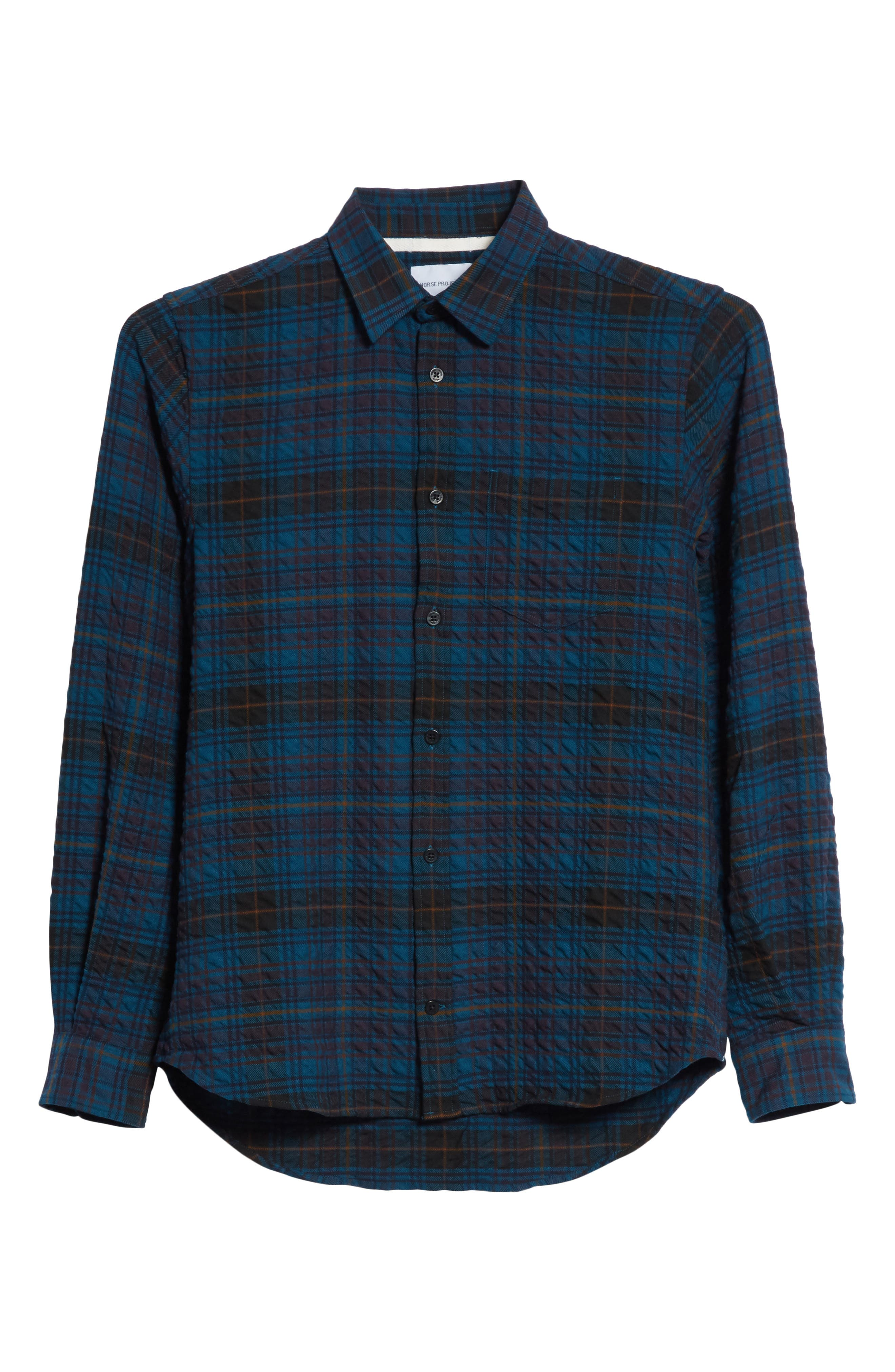Osvald Textured Check Flannel Shirt,                             Alternate thumbnail 6, color,                             411