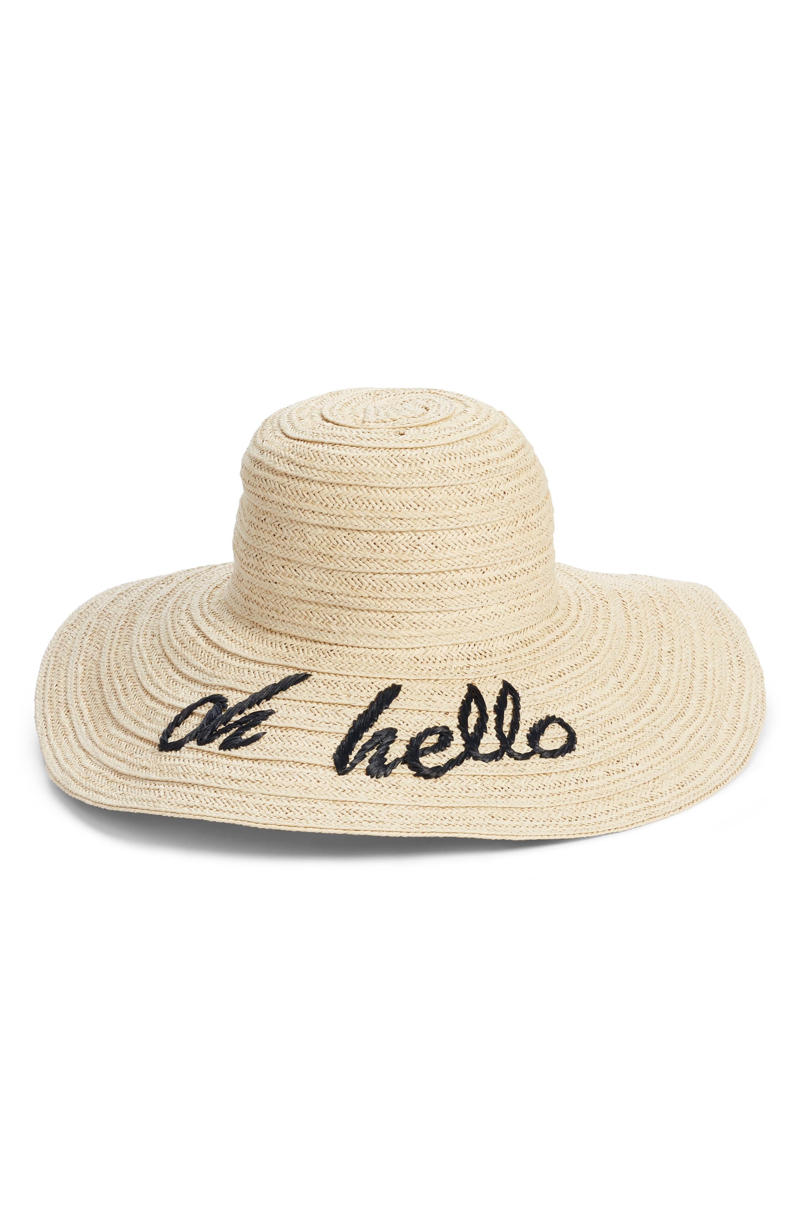 Wordplay Floppy Straw Sun Hat,                             Main thumbnail 2, color,