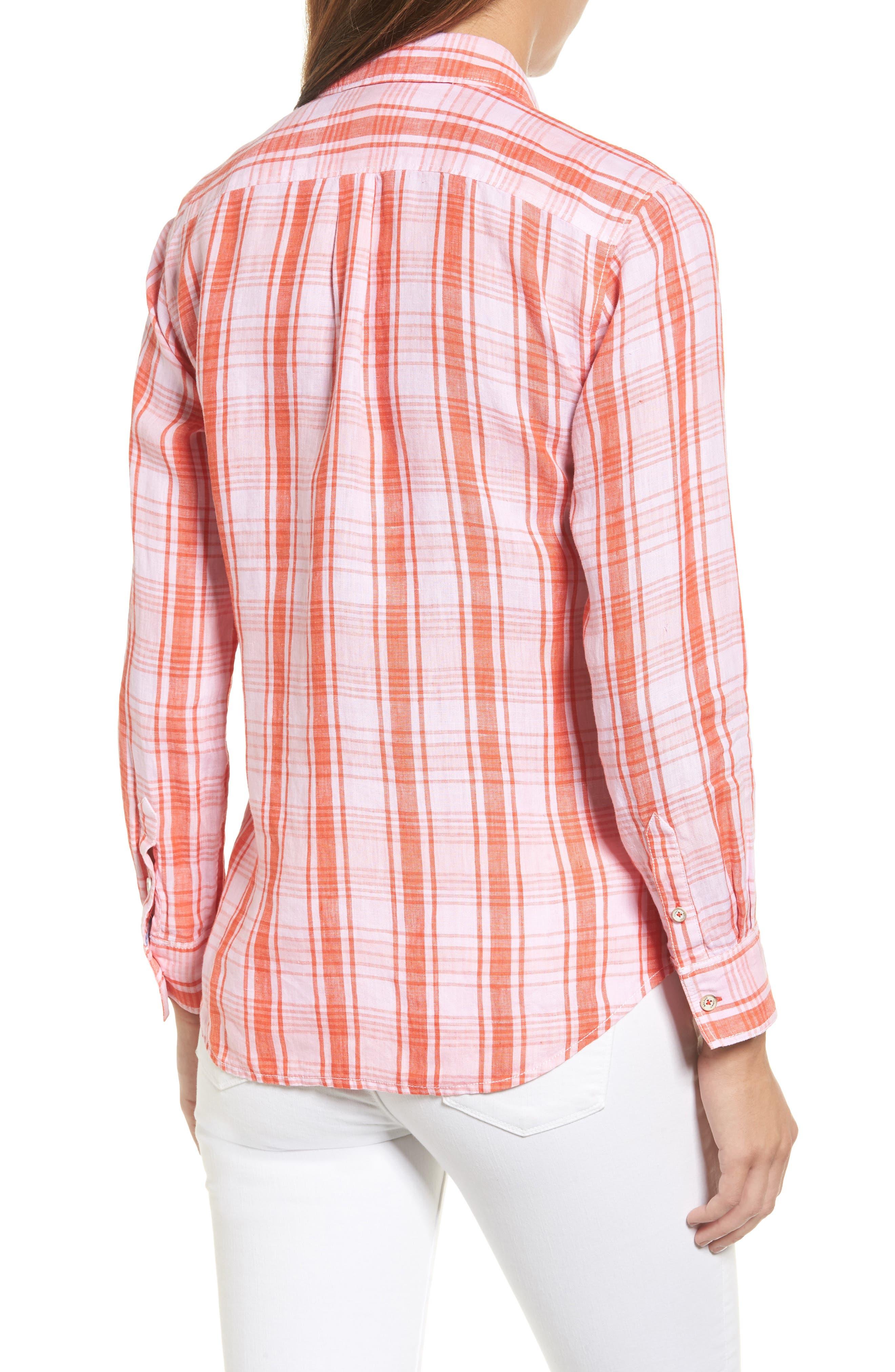 Athena Plaid Linen Shirt,                             Alternate thumbnail 2, color,                             800