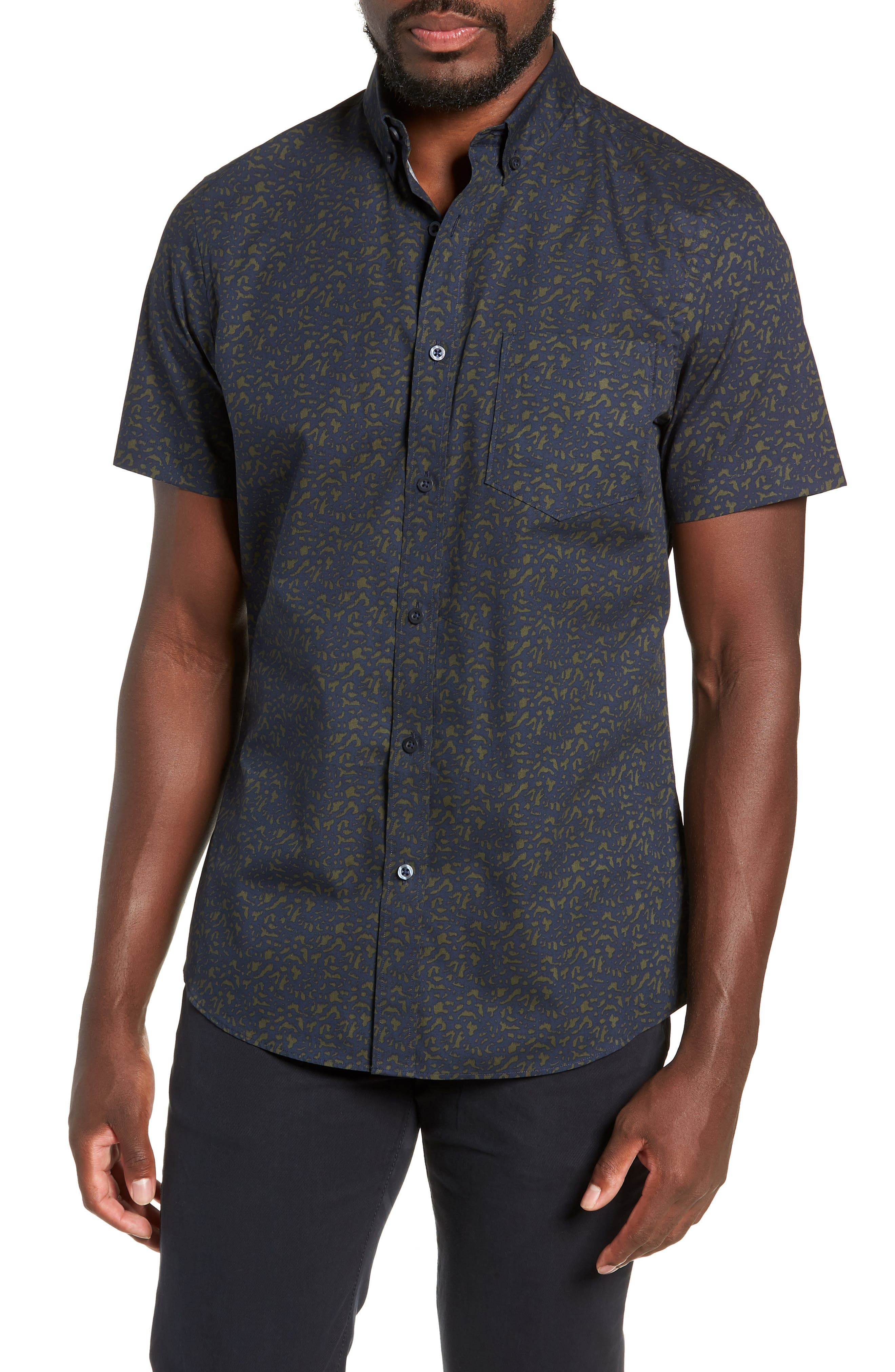 Spade Trim Fit Print Sport Shirt,                         Main,                         color, 410