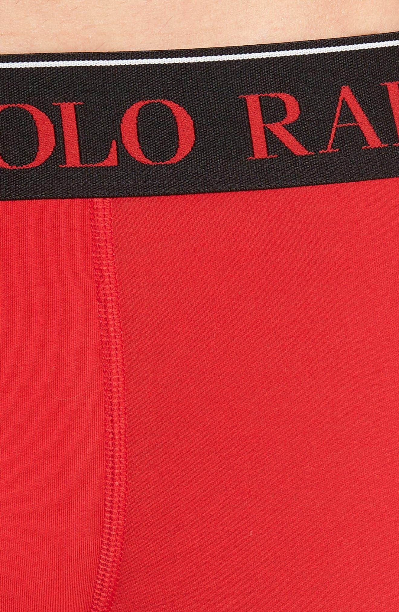 Cotton Stretch Boxer Briefs,                             Alternate thumbnail 4, color,                             RL 2000 RED/ POLO BLACK