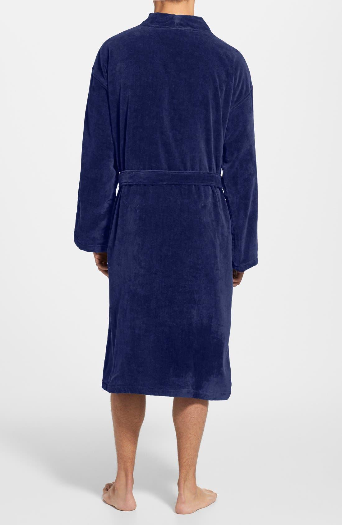 Cotton Fleece Robe,                             Alternate thumbnail 2, color,                             NAVY