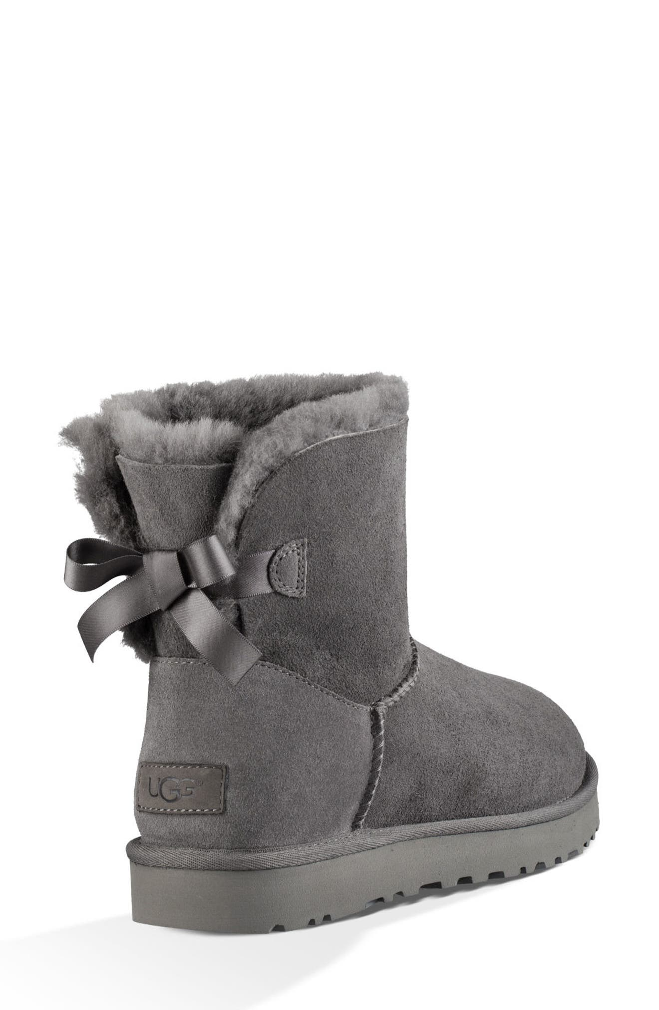 Mini Bailey Bow II Genuine Shearling Bootie,                             Alternate thumbnail 2, color,                             GREY SUEDE