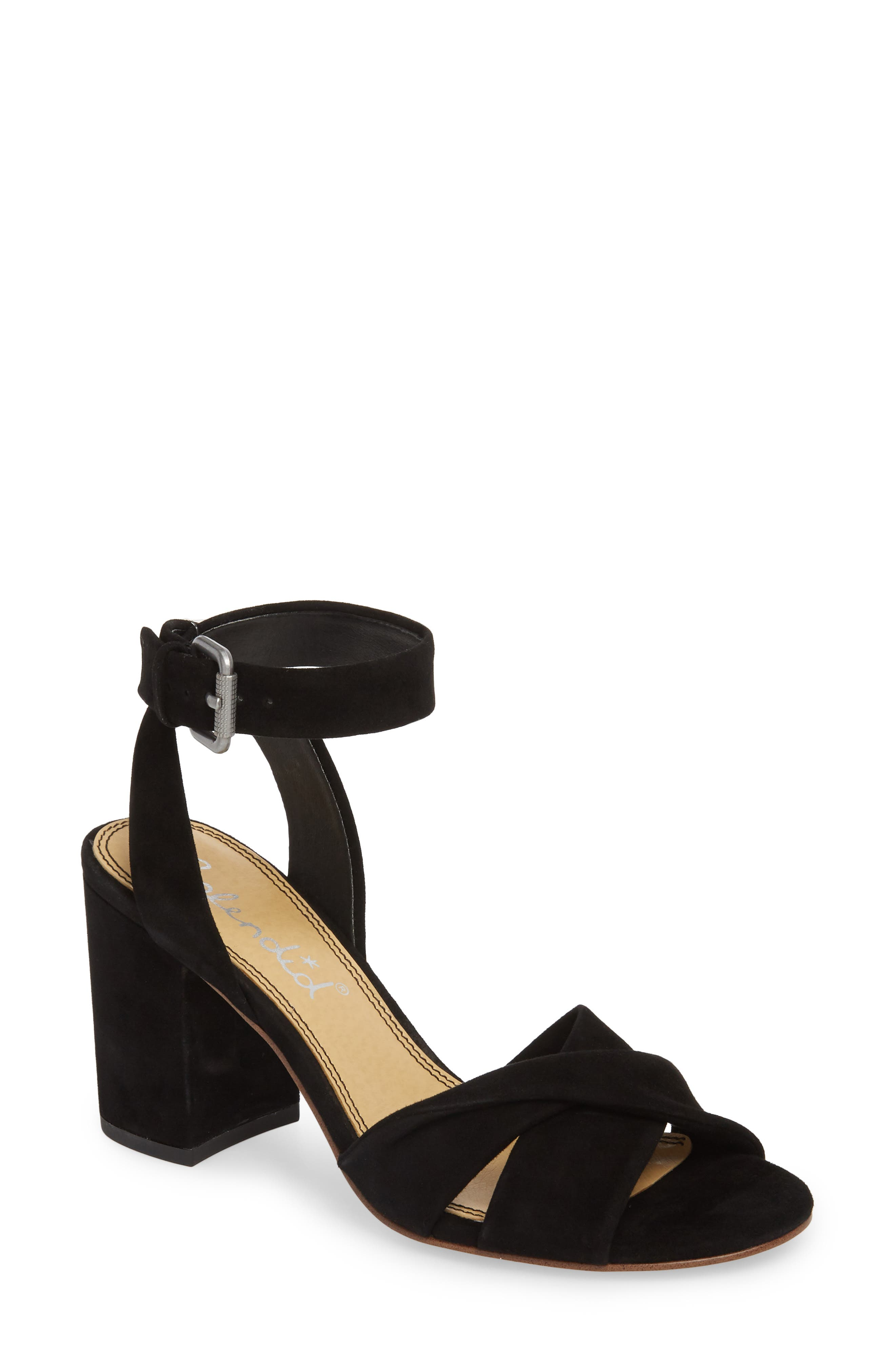 Fairy Block Heel Sandal,                             Main thumbnail 1, color,                             BLACK SUEDE