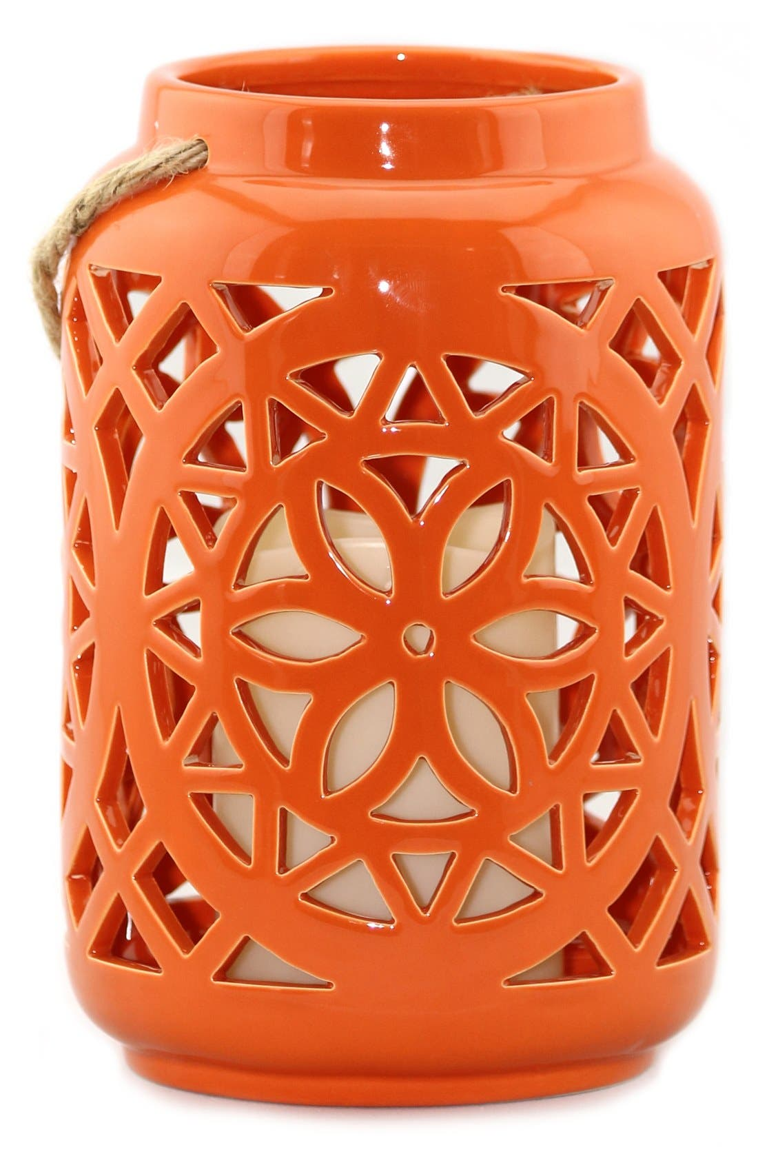 Ceramic Lantern & All-Weather Flameless Candle,                             Alternate thumbnail 5, color,