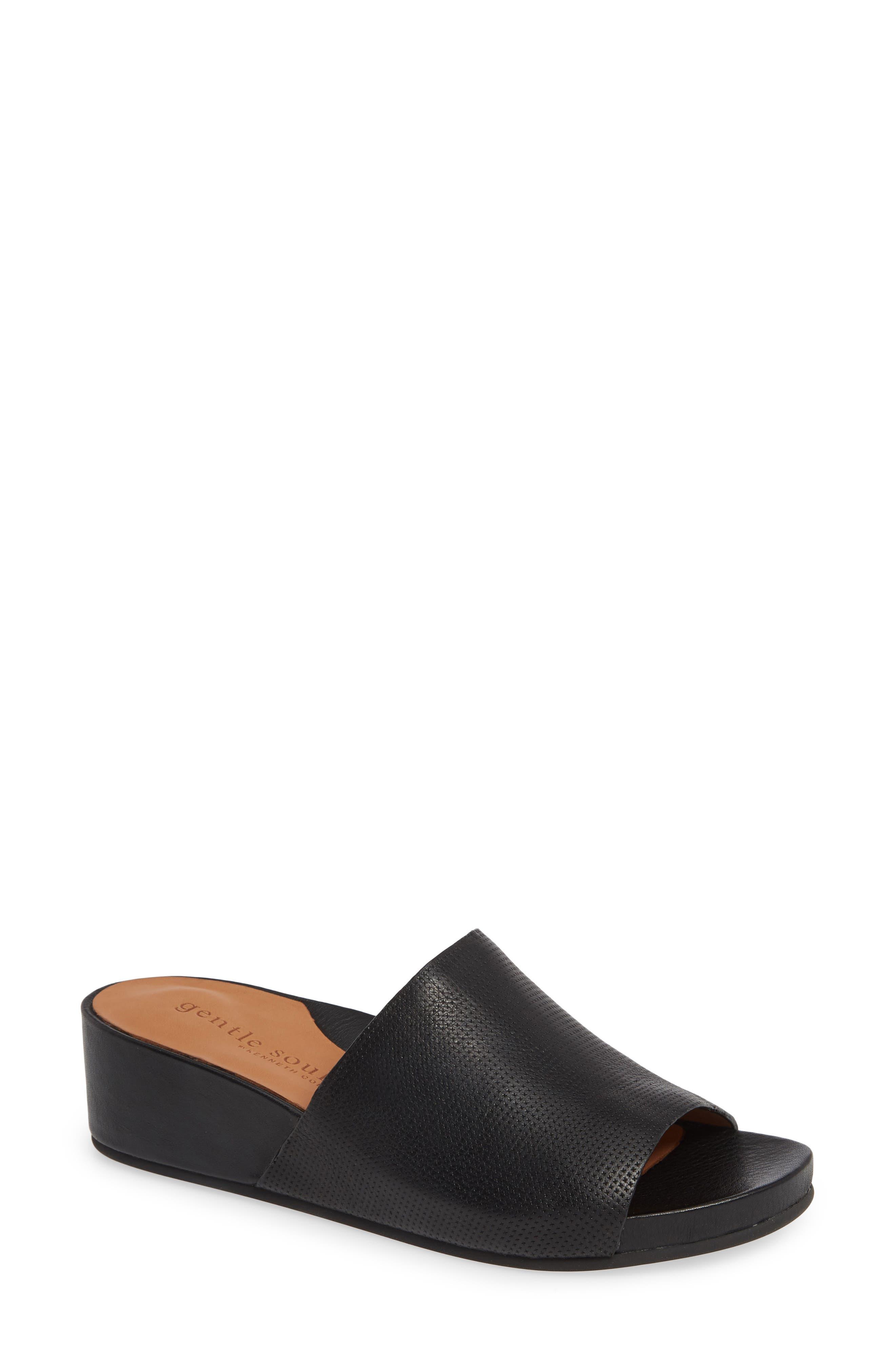 Gisele Wedge Slide Sandal,                             Main thumbnail 1, color,                             BLACK LEATHER