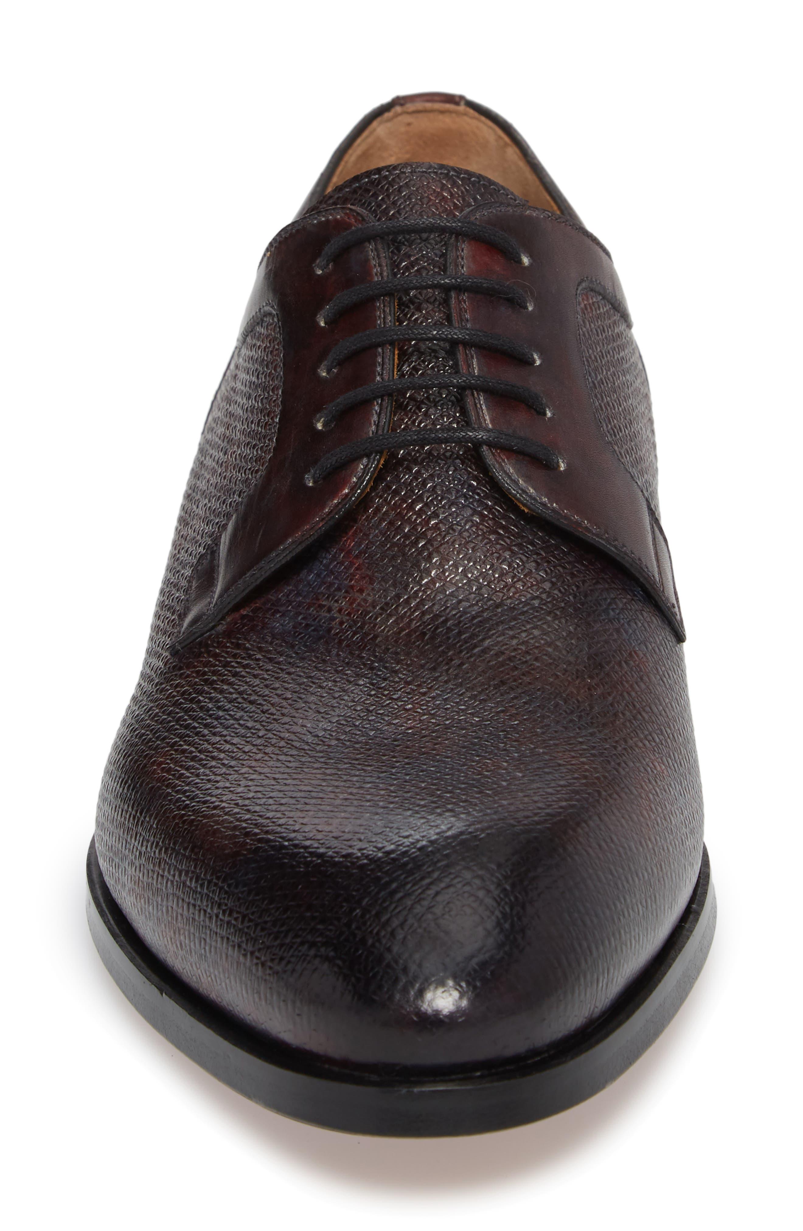 Porter Textured Plain Toe Derby,                             Alternate thumbnail 4, color,                             020