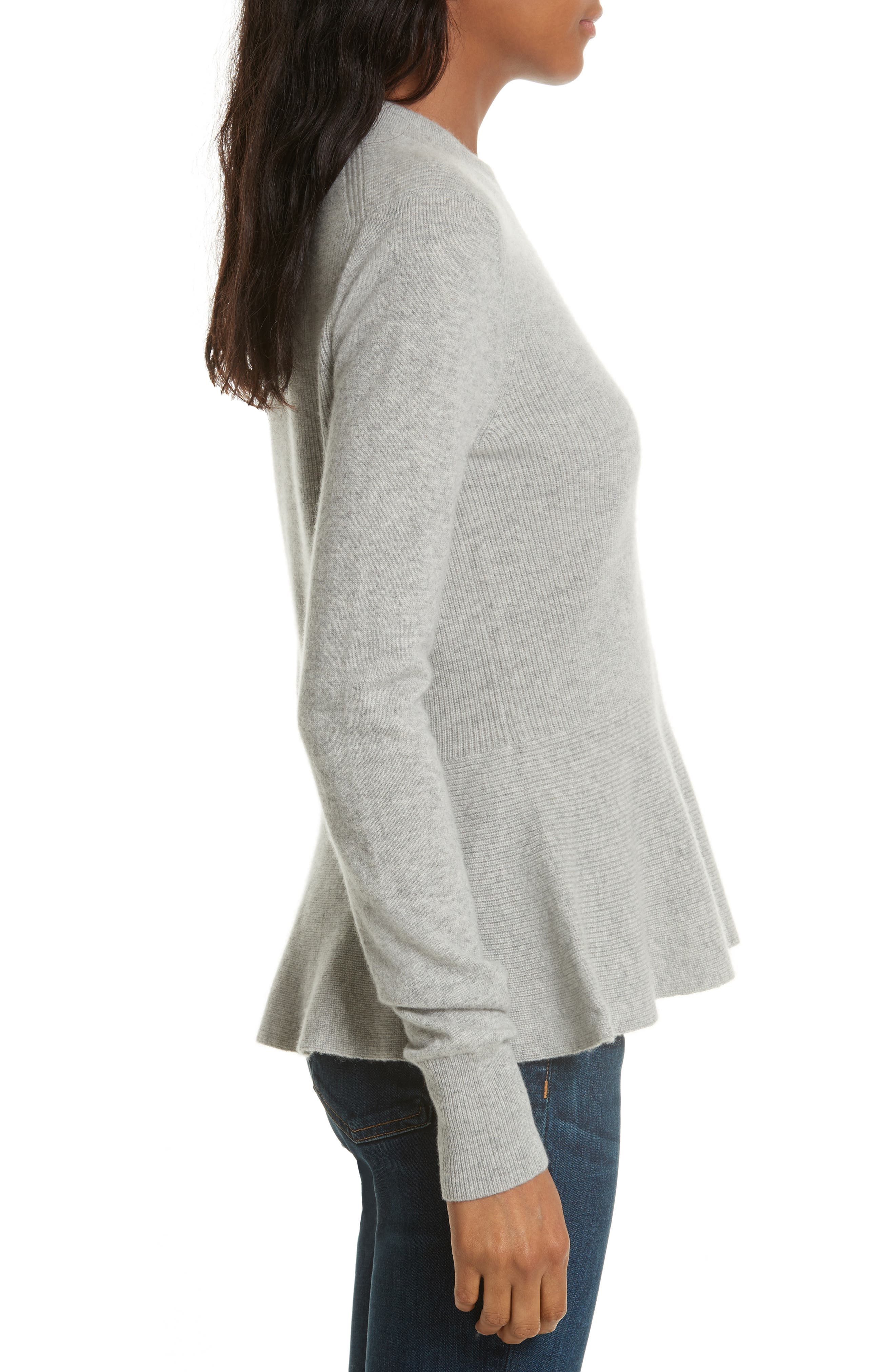 Raleigh Cashmere Peplum Sweater,                             Alternate thumbnail 8, color,