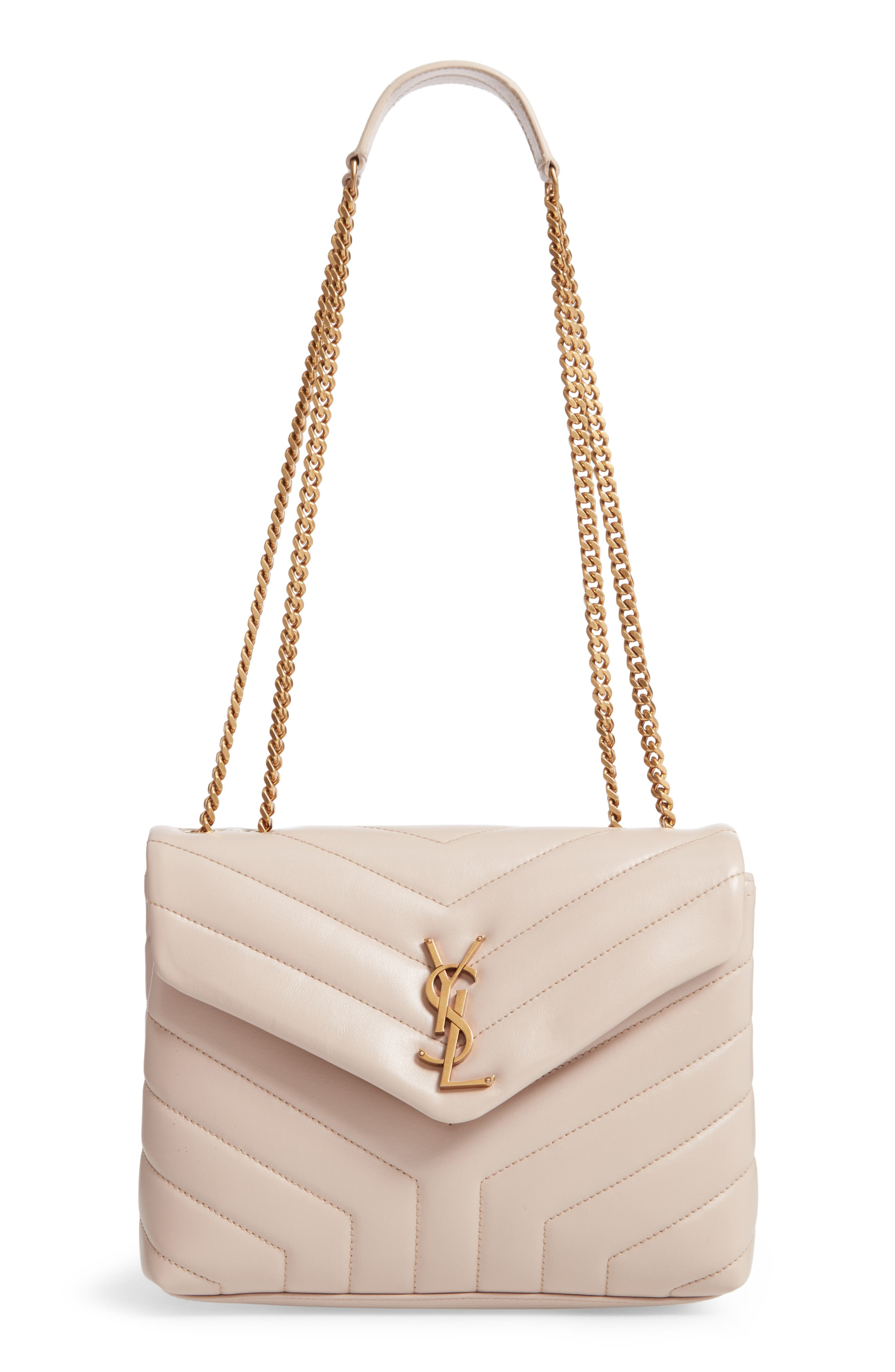 SAINT LAURENT Small Loulou Leather Shoulder Bag, Main, color, LIGHT NATURAL