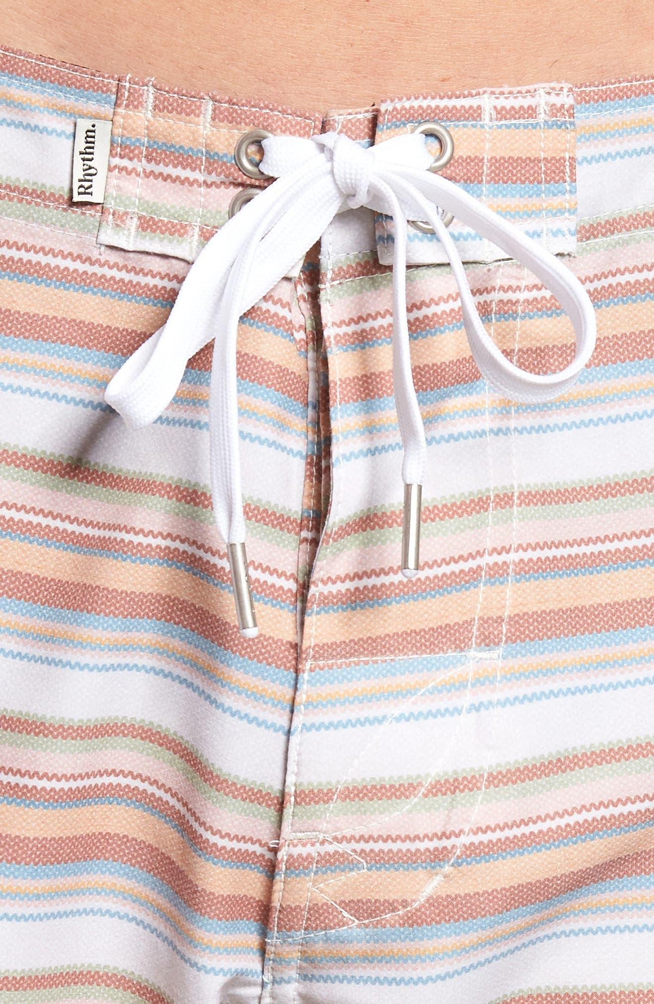 Tuscan Stripe Swim Trunks,                             Alternate thumbnail 4, color,                             TERRACOTTA