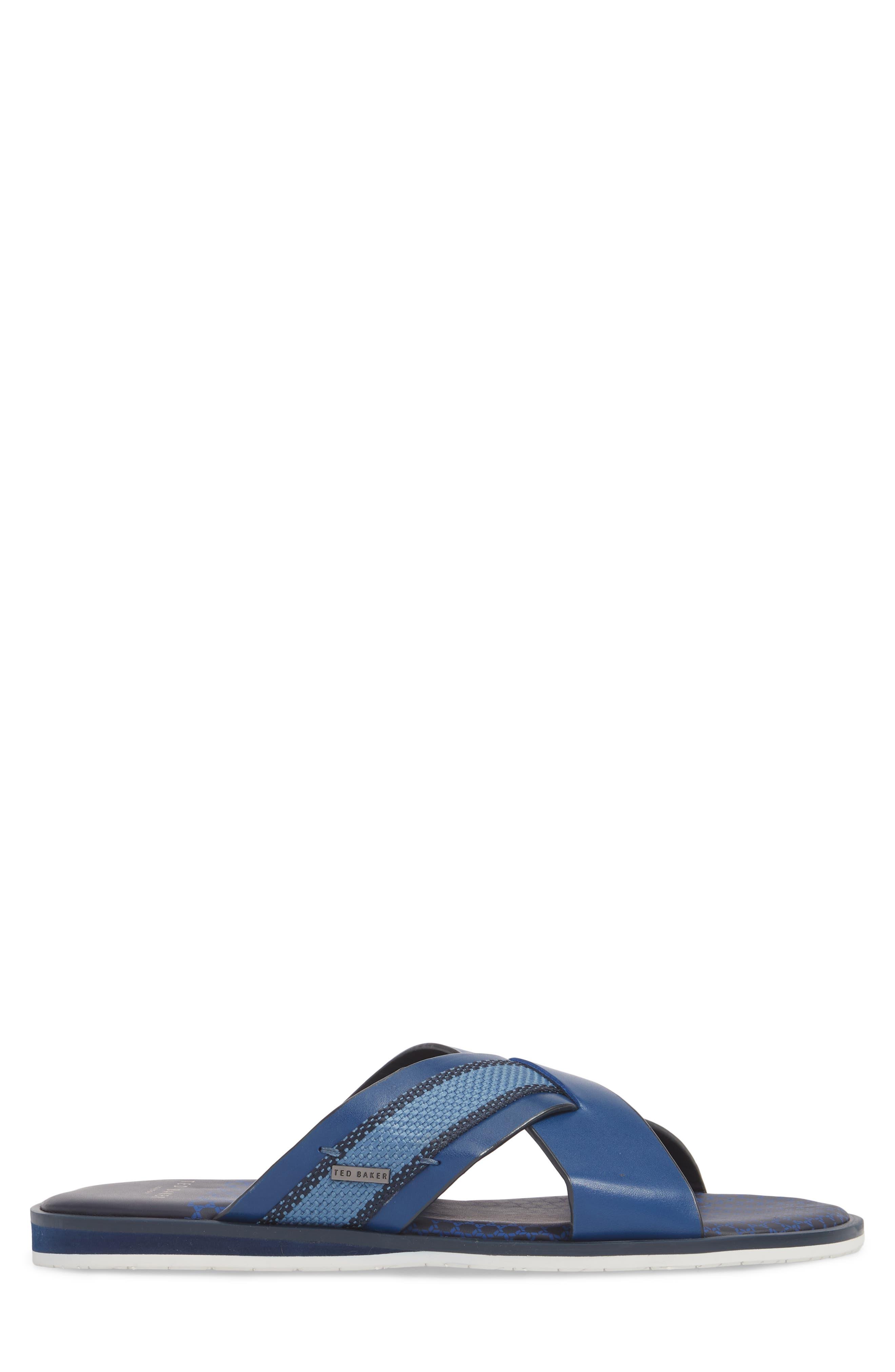 Farrull Cross Strap Slide Sandal,                             Alternate thumbnail 3, color,                             BLUE LEATHER/TEXTILE