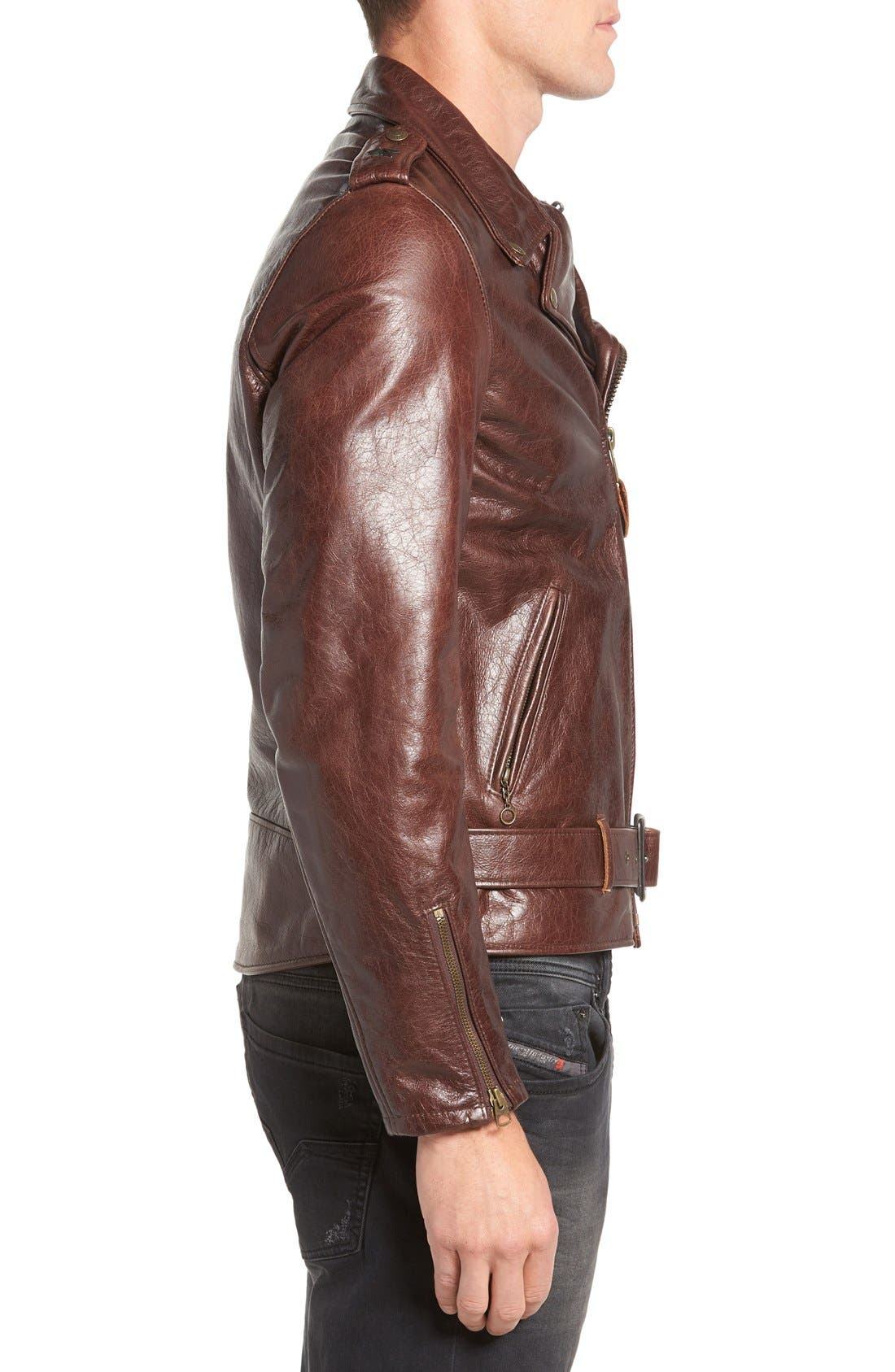Waxy Cowhide Leather Motorcycle Jacket,                             Alternate thumbnail 9, color,                             BROWN
