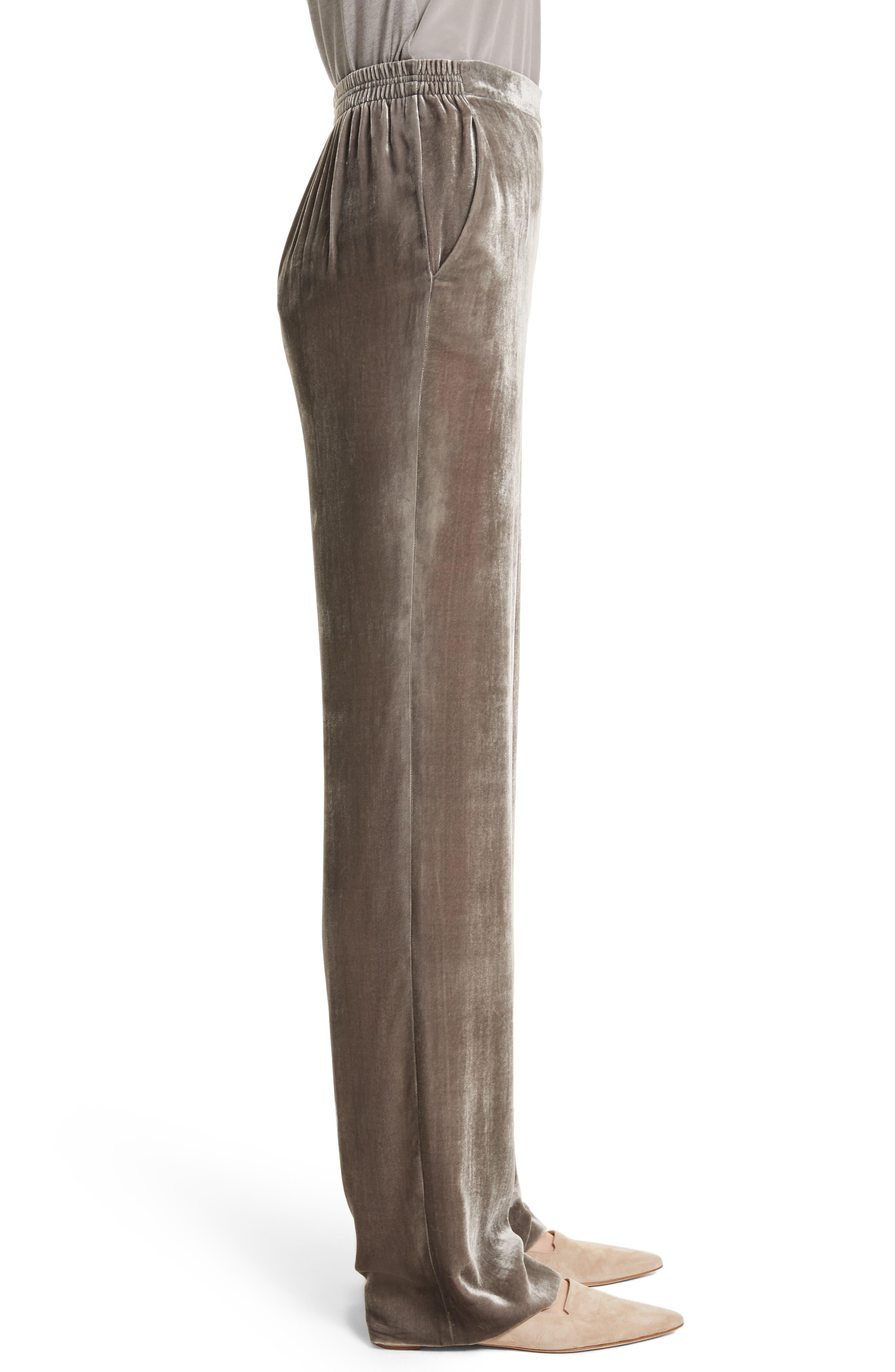 Wide Leg Velvet Pants,                             Alternate thumbnail 3, color,                             030