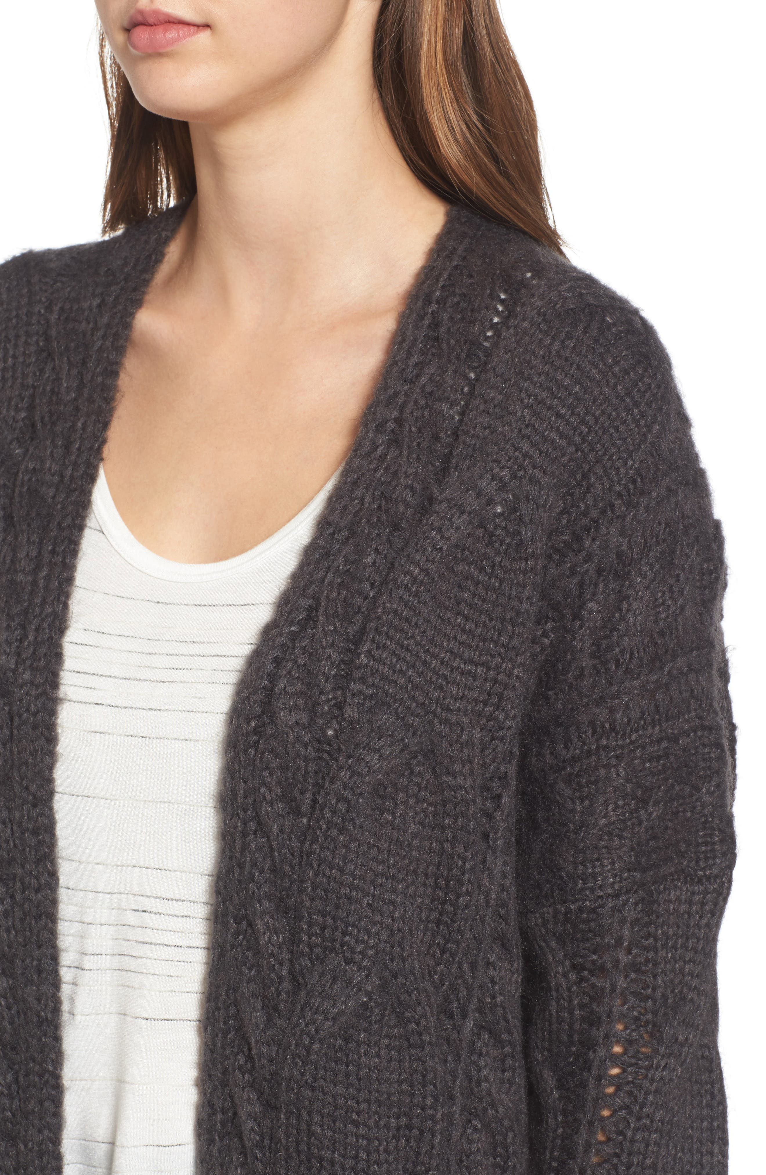 Cable Knit Cardigan,                             Alternate thumbnail 4, color,                             030