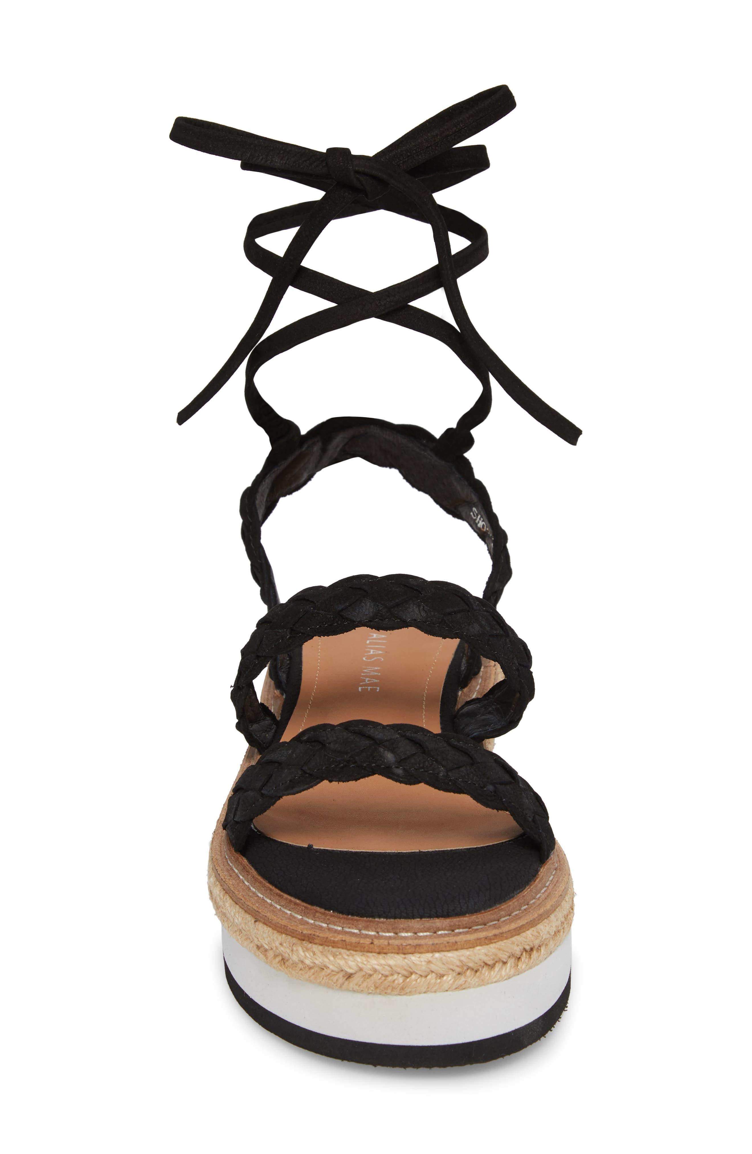Nieve Braided Platform Sandal,                             Alternate thumbnail 4, color,                             001