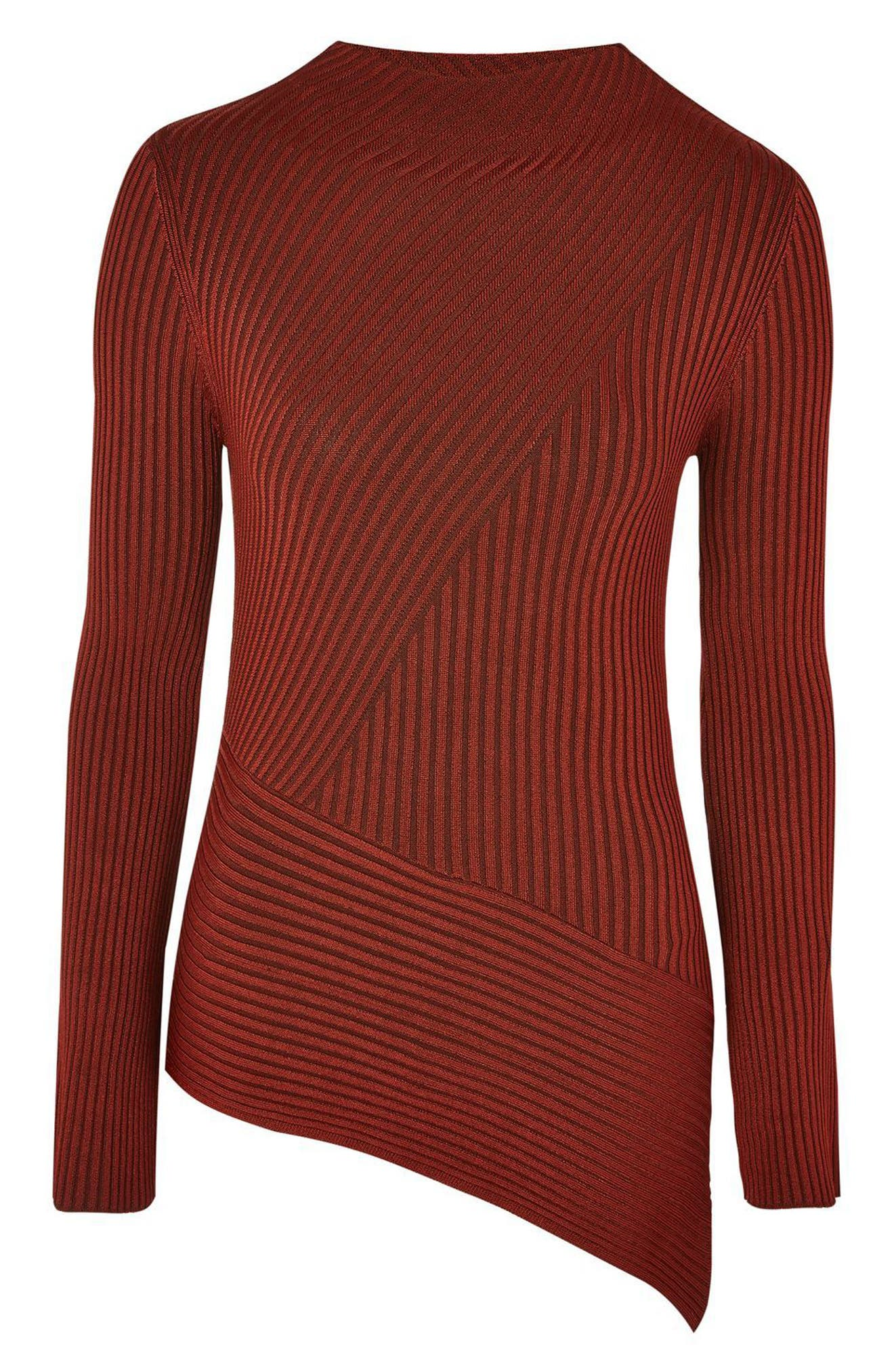 Asymmetrical Ribbed Sweater,                             Alternate thumbnail 4, color,                             220
