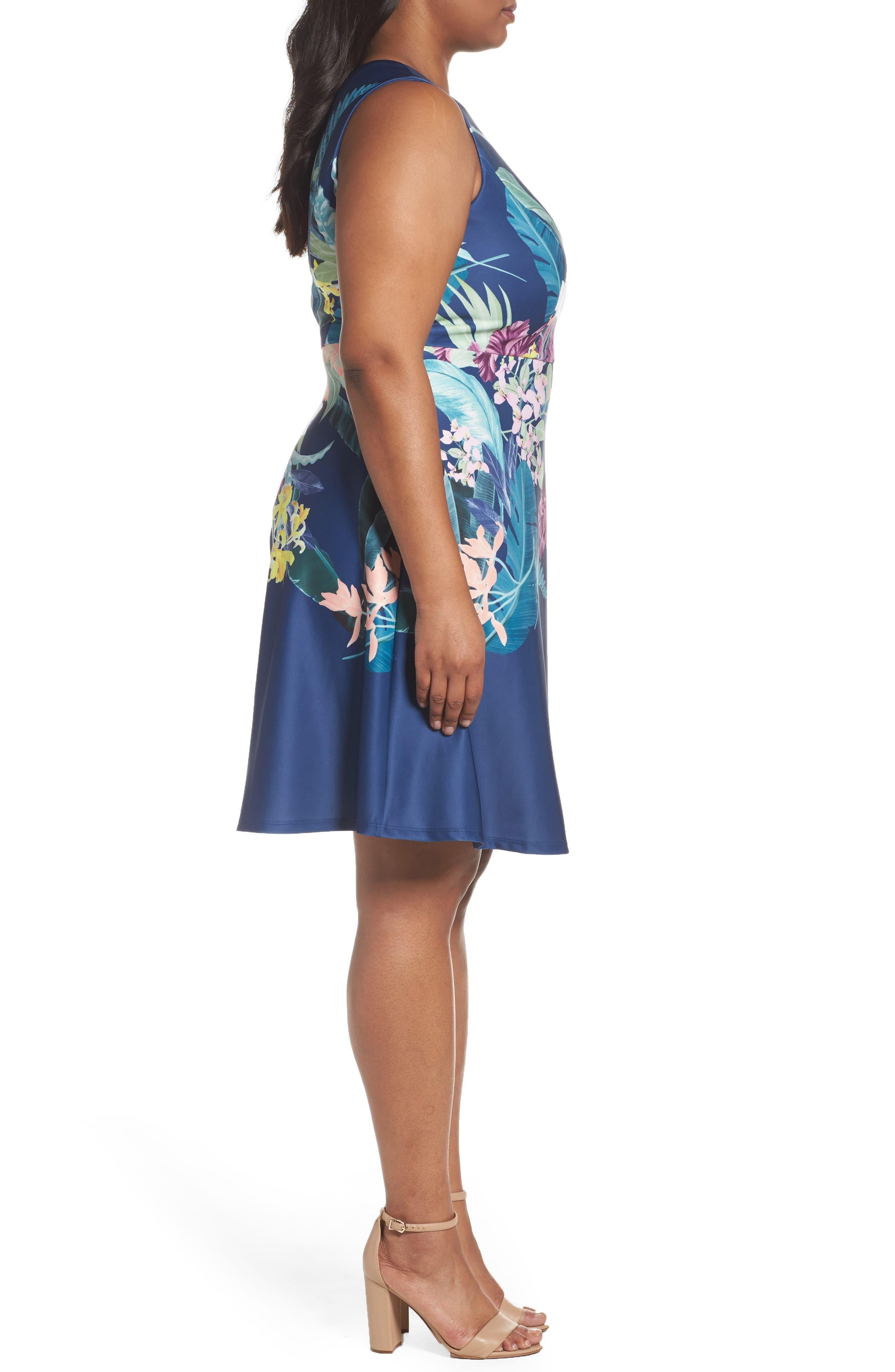 Scuba Fit & Flare Dress,                             Alternate thumbnail 3, color,                             480