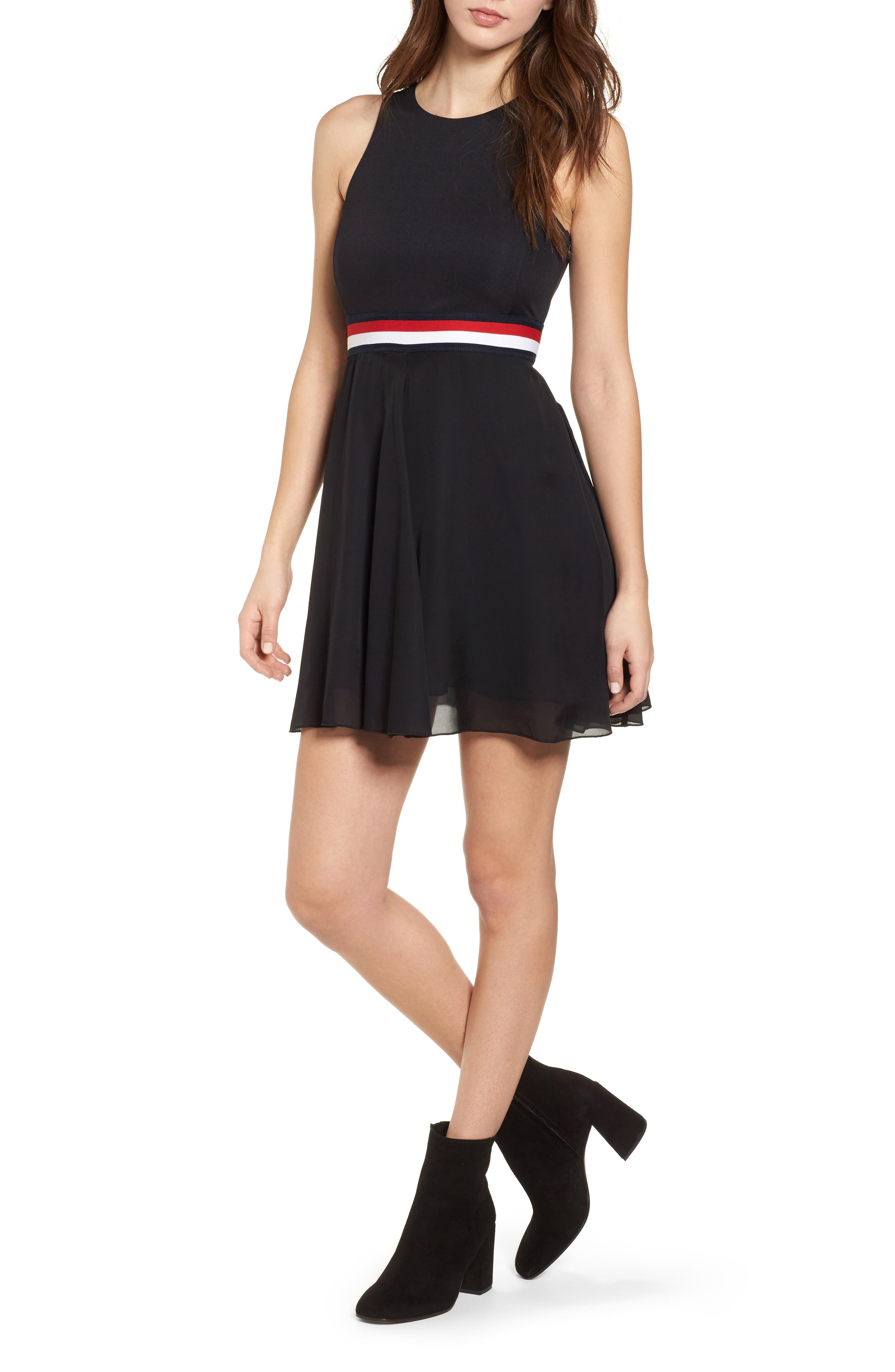 x Gigi Hadid Racerback Dress,                             Alternate thumbnail 5, color,                             001