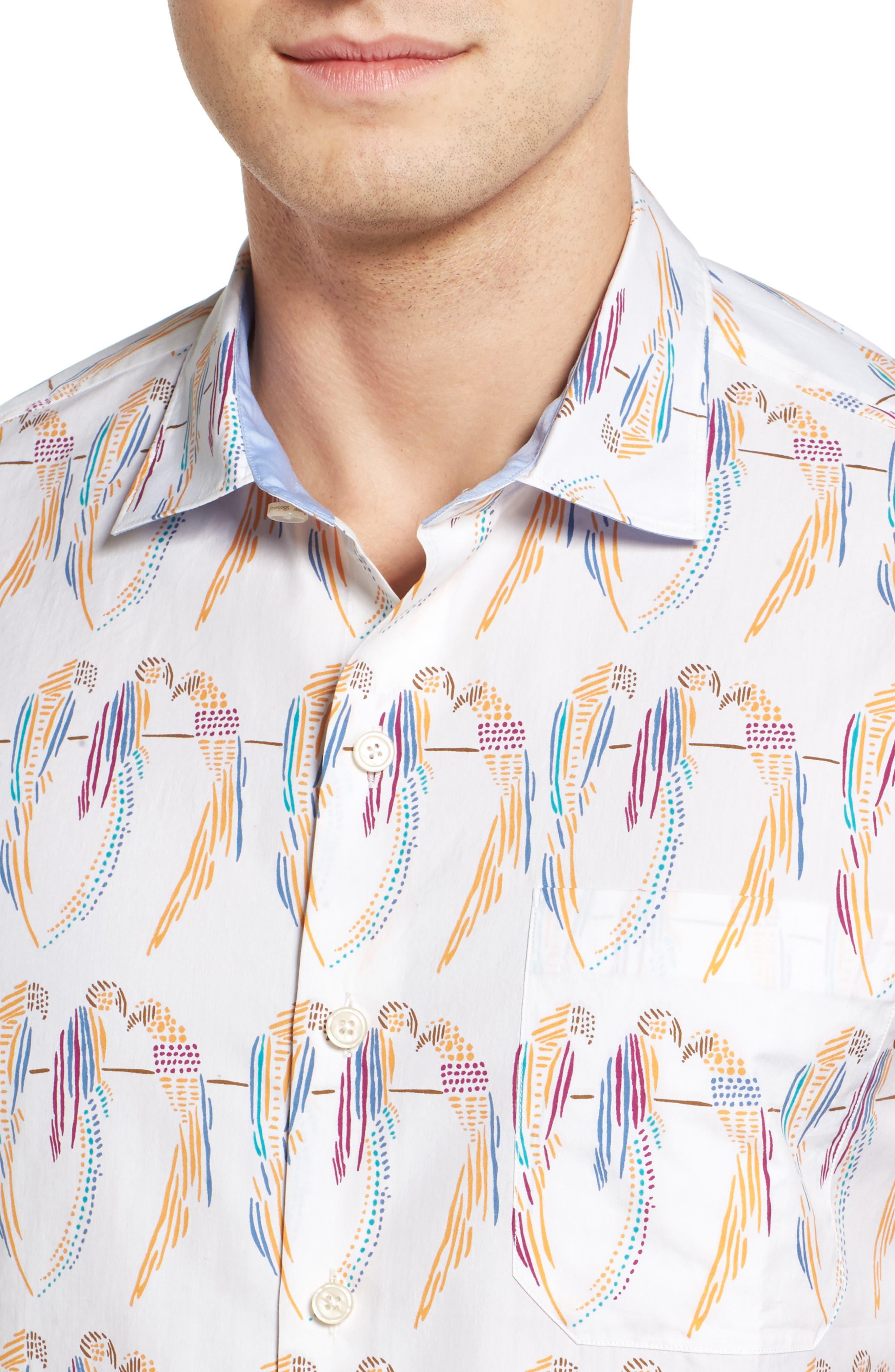 Meet the Parrots Standard Fit Sport Shirt,                             Alternate thumbnail 4, color,                             800