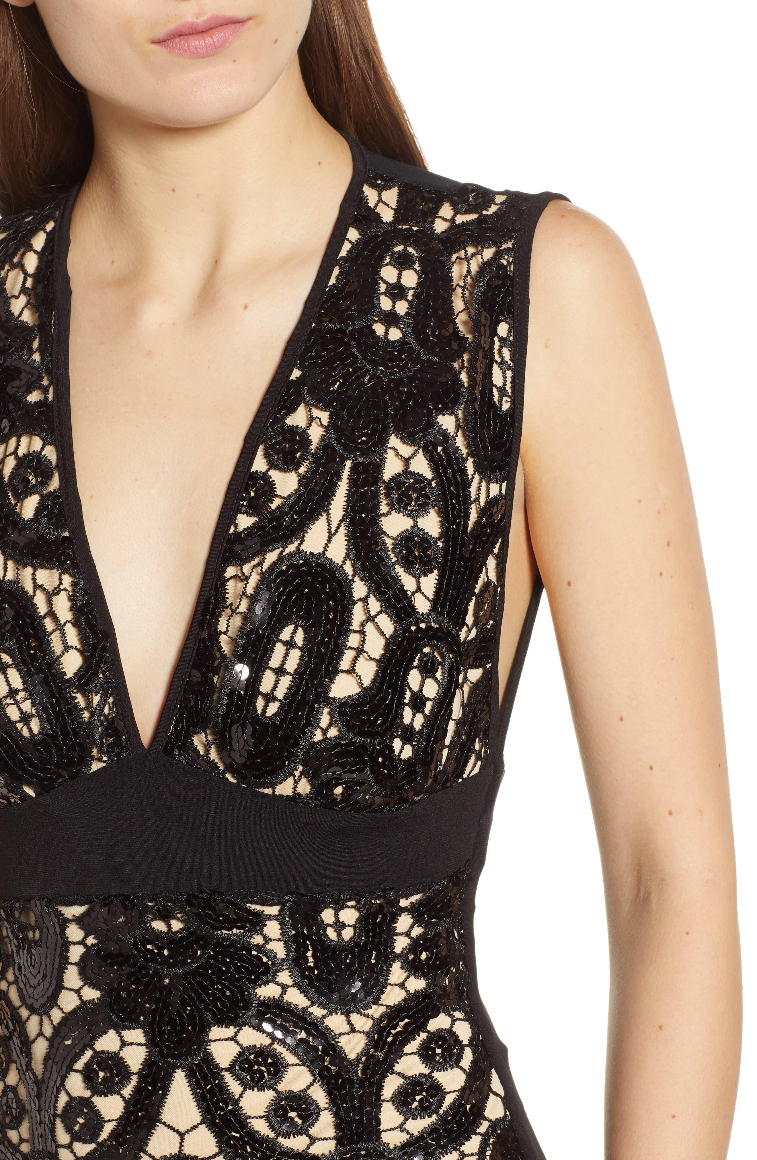 Sequin Sheath Dress,                             Alternate thumbnail 4, color,                             BLACK