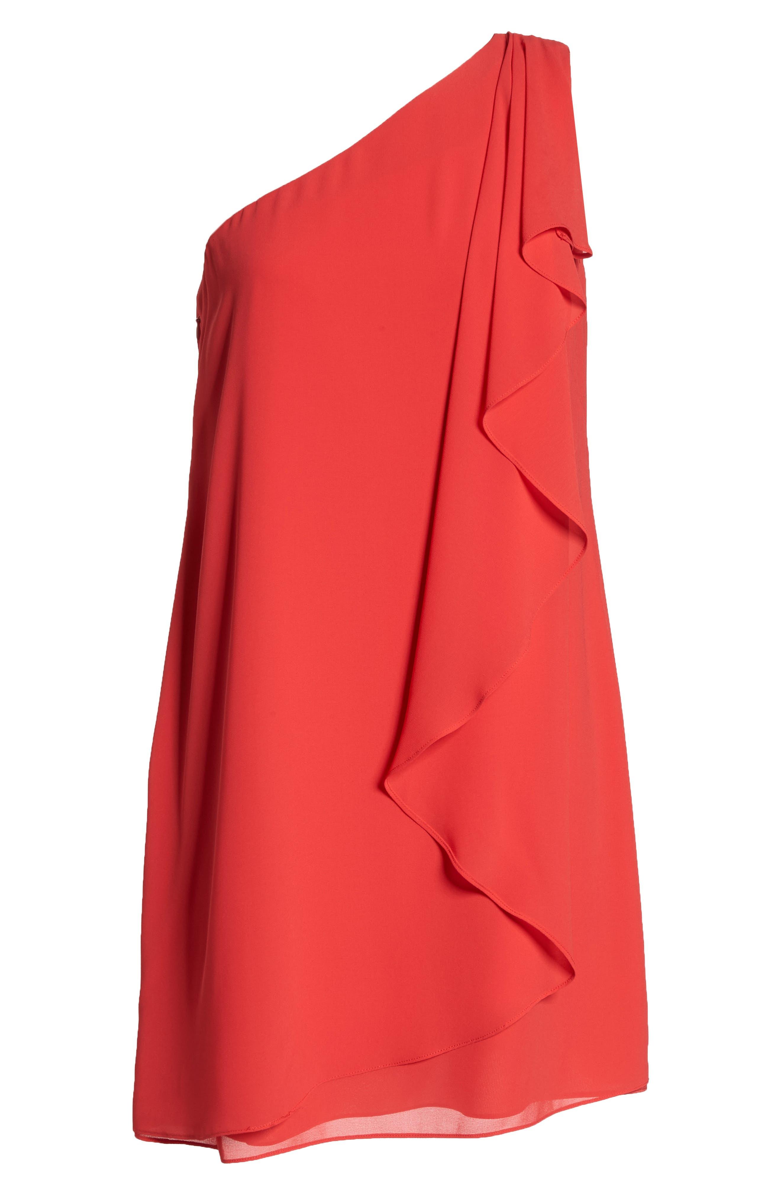 Soufflé One-Shoulder Chiffon Shift Dress,                             Alternate thumbnail 7, color,                             652