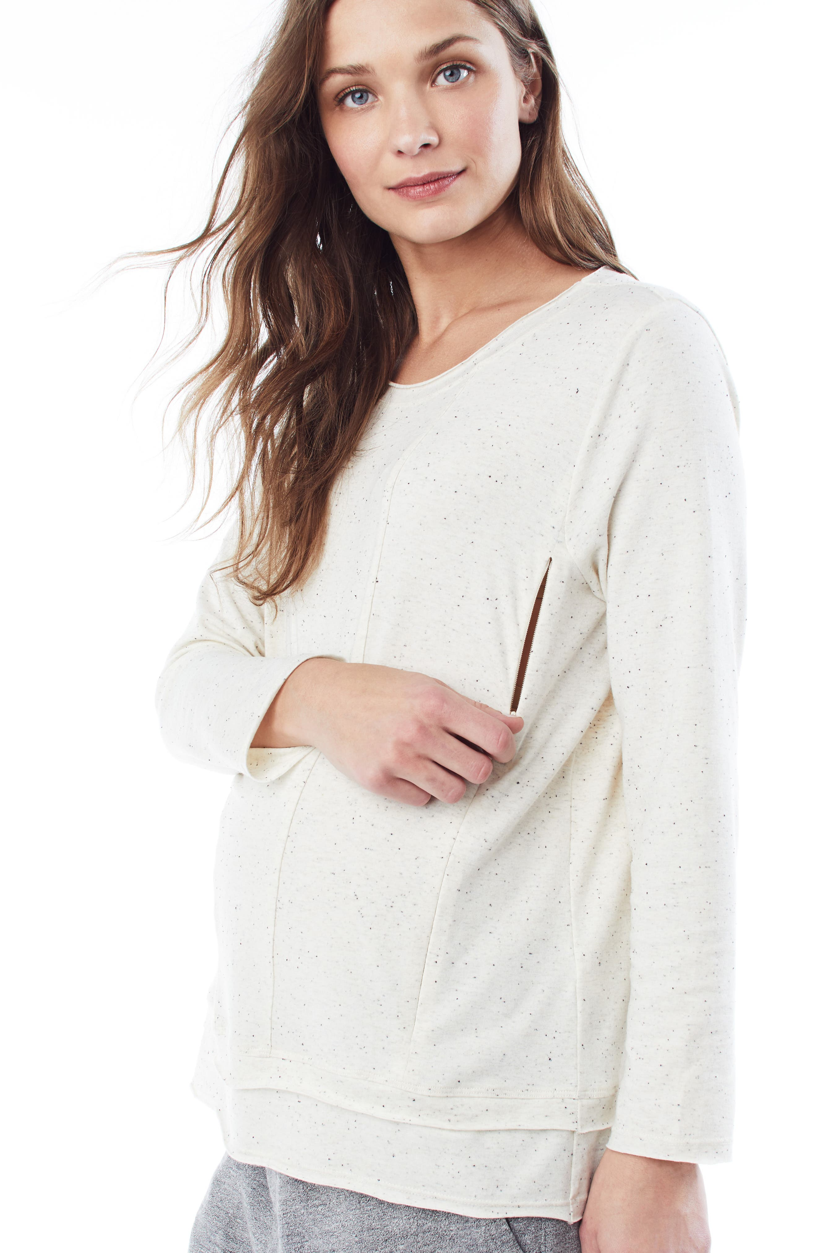 'Christy' Long Sleeve Maternity/Nursing Top,                             Alternate thumbnail 5, color,                             CREAM