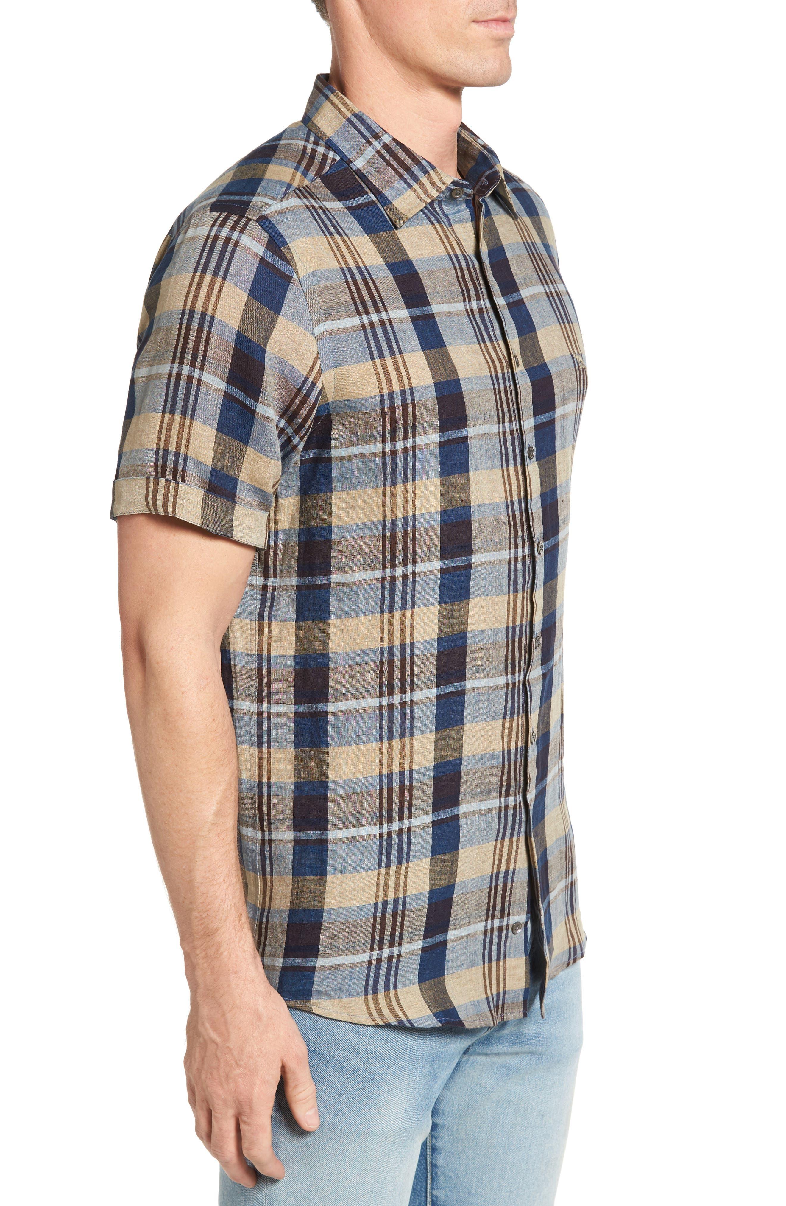 Pavillion Plaid Linen Sport Shirt,                             Alternate thumbnail 3, color,                             231