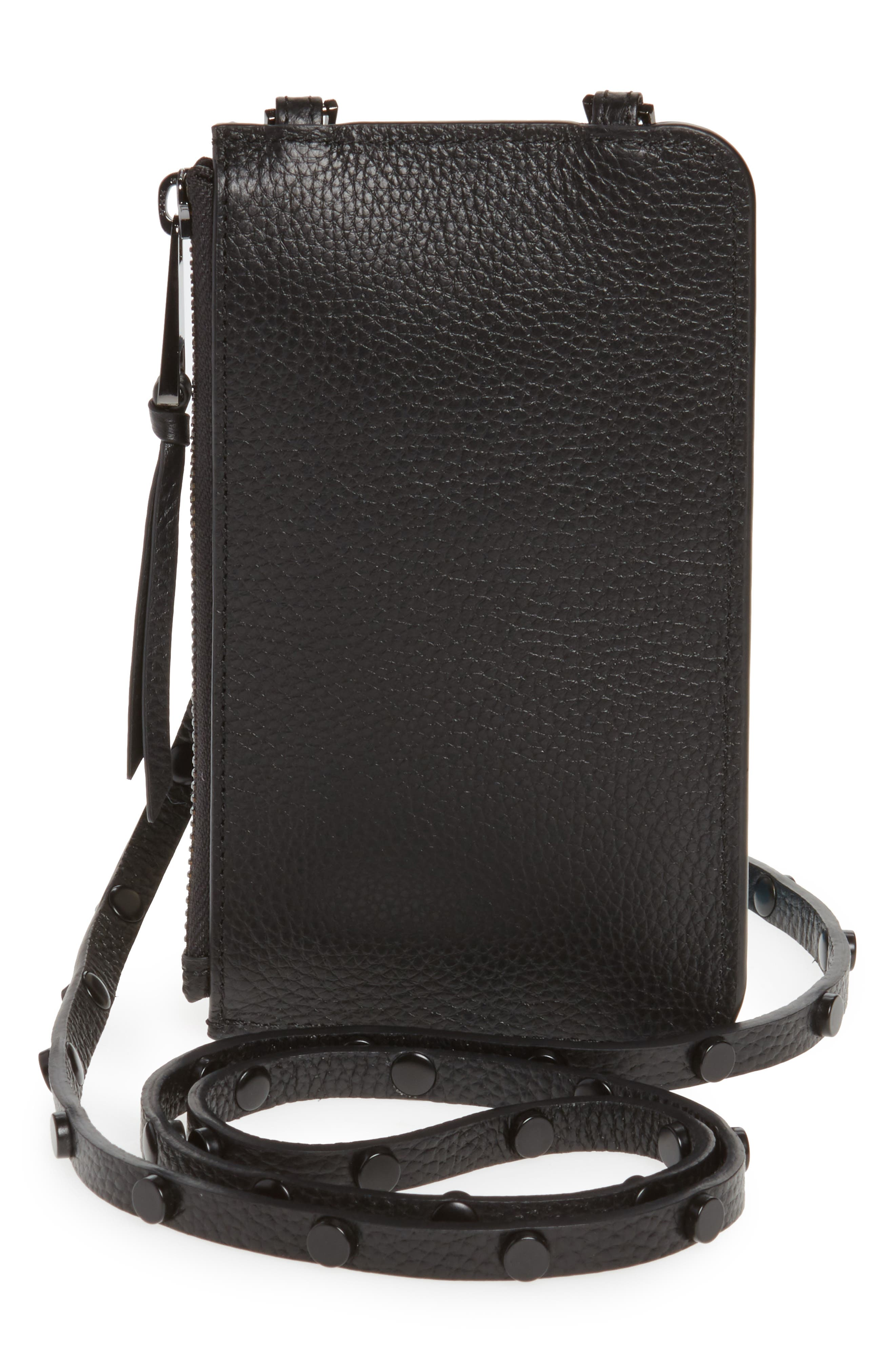 Jane Leather iPhone X & Xs Crossbody Case & Pouch Set,                             Alternate thumbnail 5, color,                             BLACK/ PEWTER