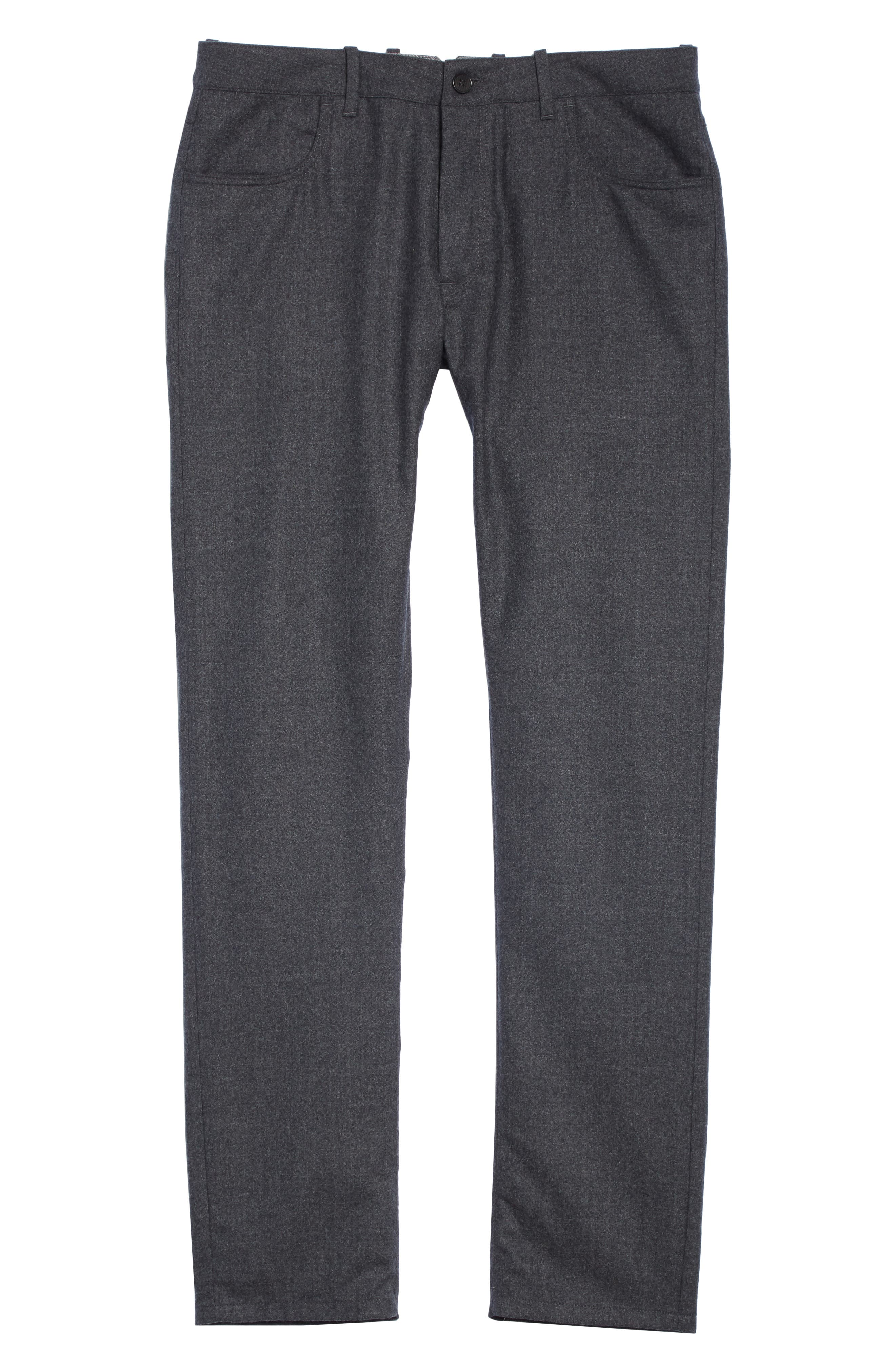 Flat Front Flannel Wool Five-Pocket Trousers,                             Alternate thumbnail 6, color,                             CHARCOAL