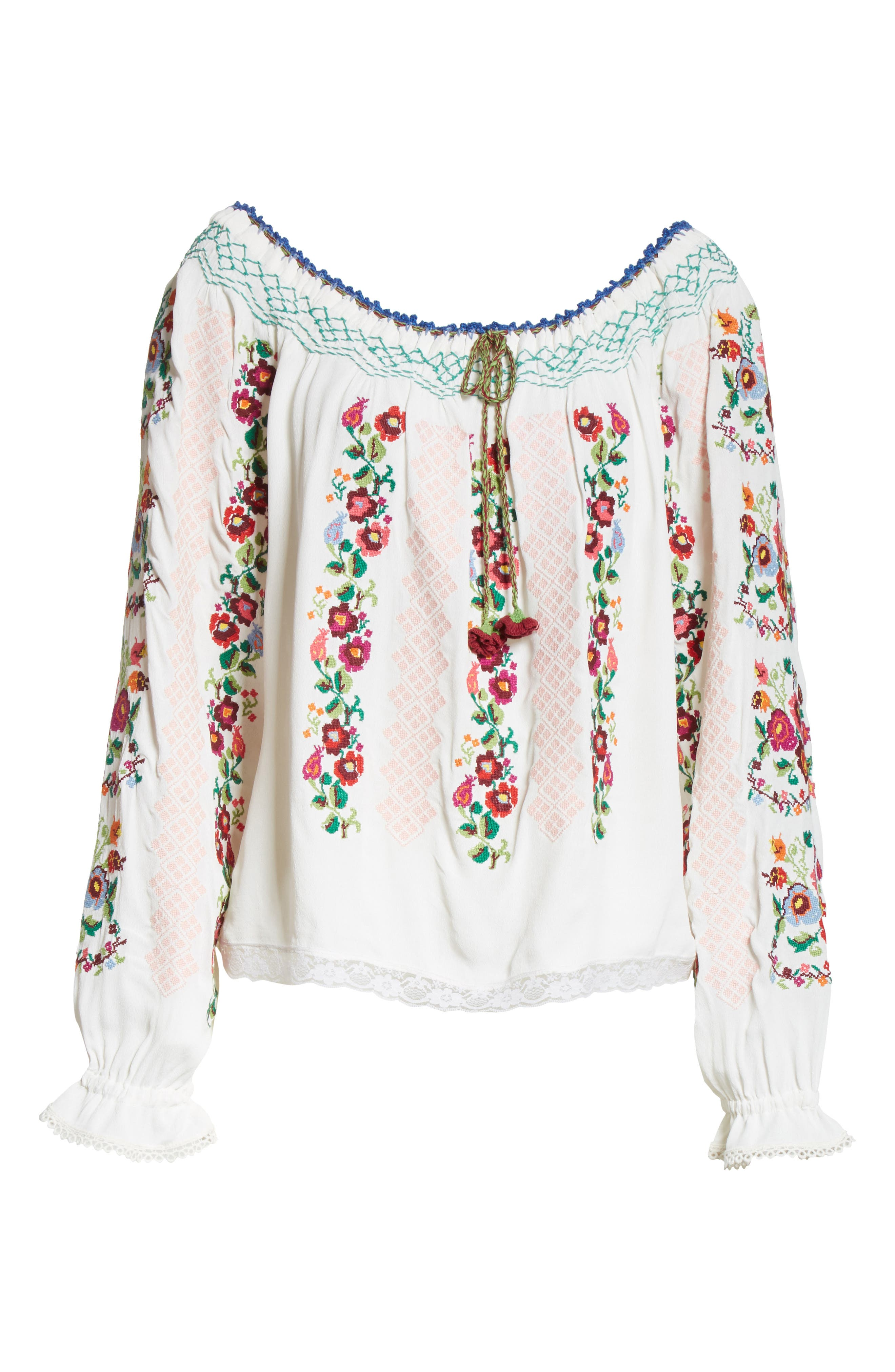 Cross Stitch Floral Top,                             Alternate thumbnail 6, color,