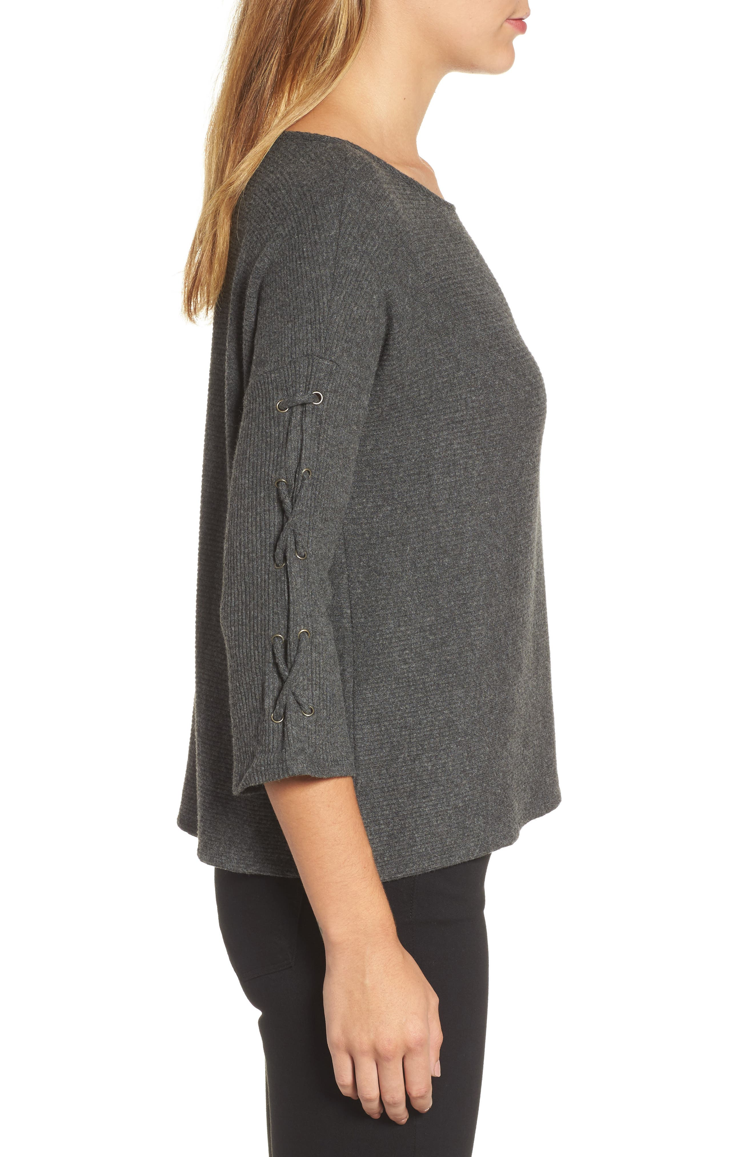 Lace-Up Sleeve Ribbed Top,                             Alternate thumbnail 3, color,                             056