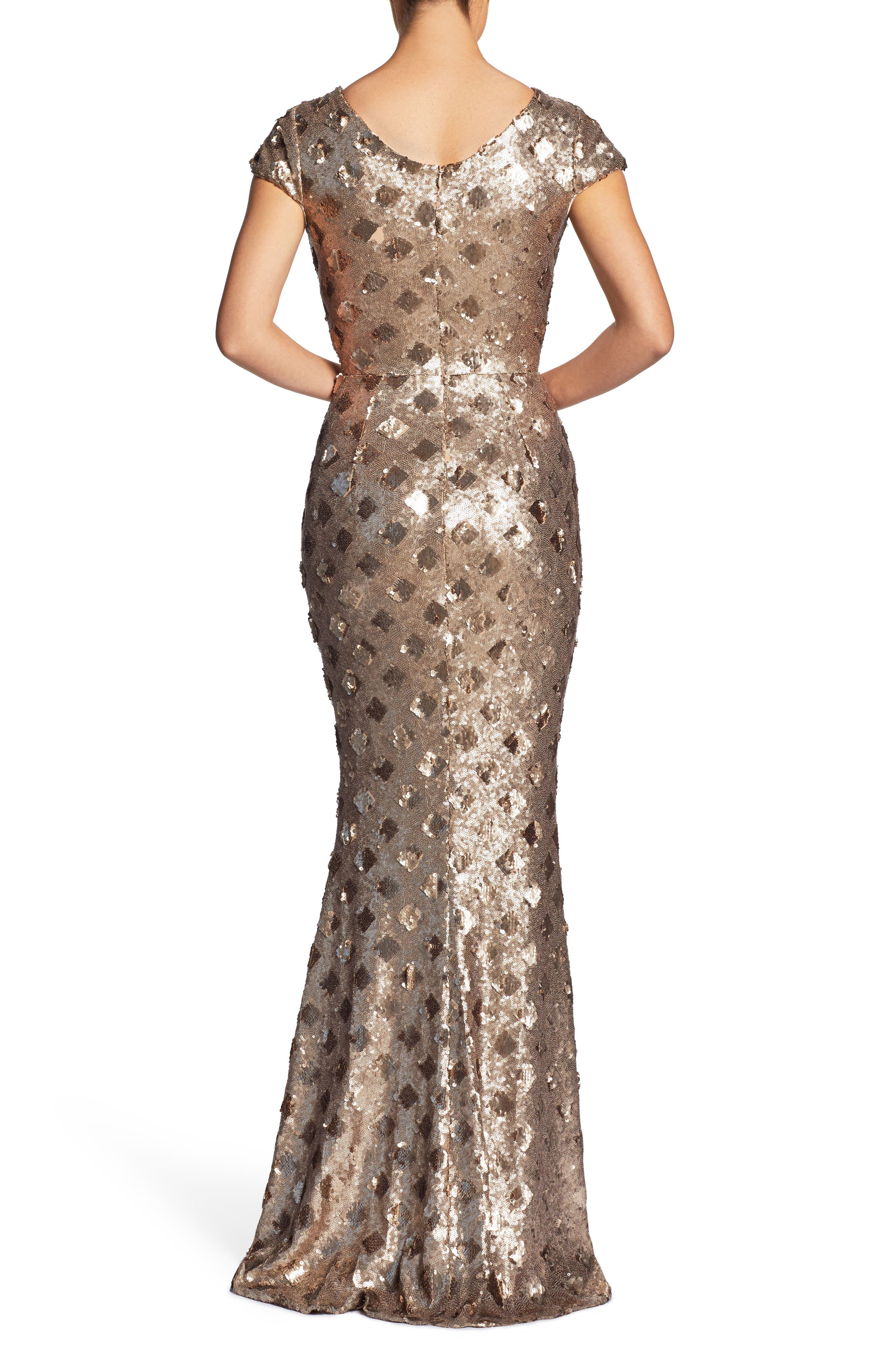 Lina Patterned Sequin Trumpet Gown,                             Alternate thumbnail 2, color,                             BRASS