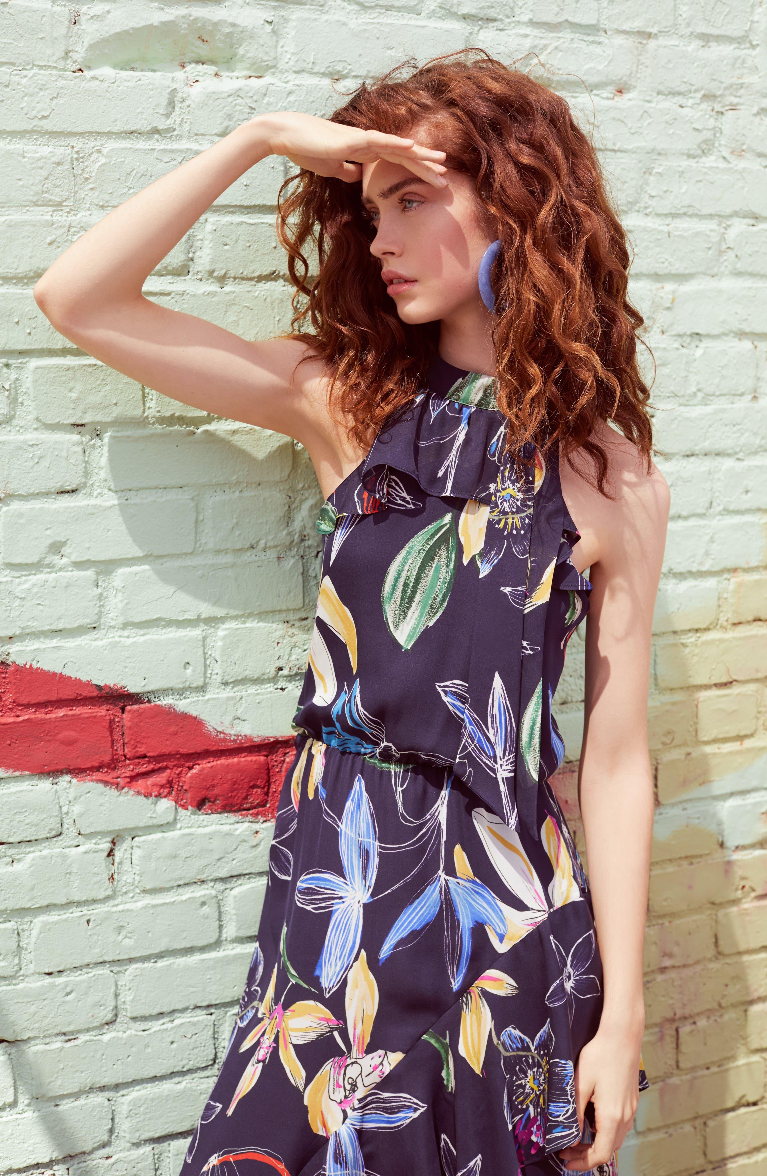 Julieta Tiered Dress,                             Alternate thumbnail 7, color,                             COSMIC FLEUR