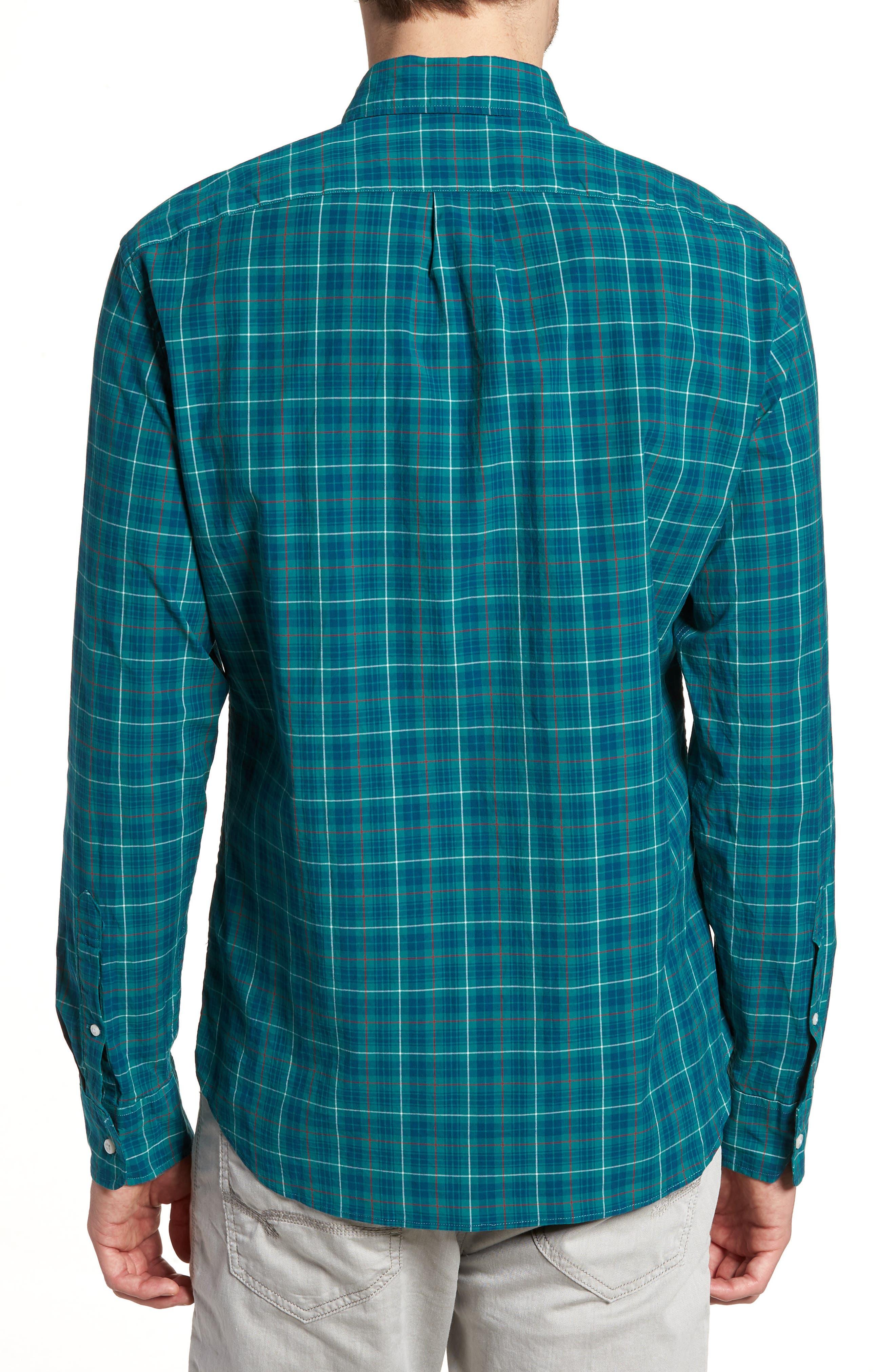 Slim Fit Stretch Secret Wash Plaid Sport Shirt,                             Alternate thumbnail 2, color,