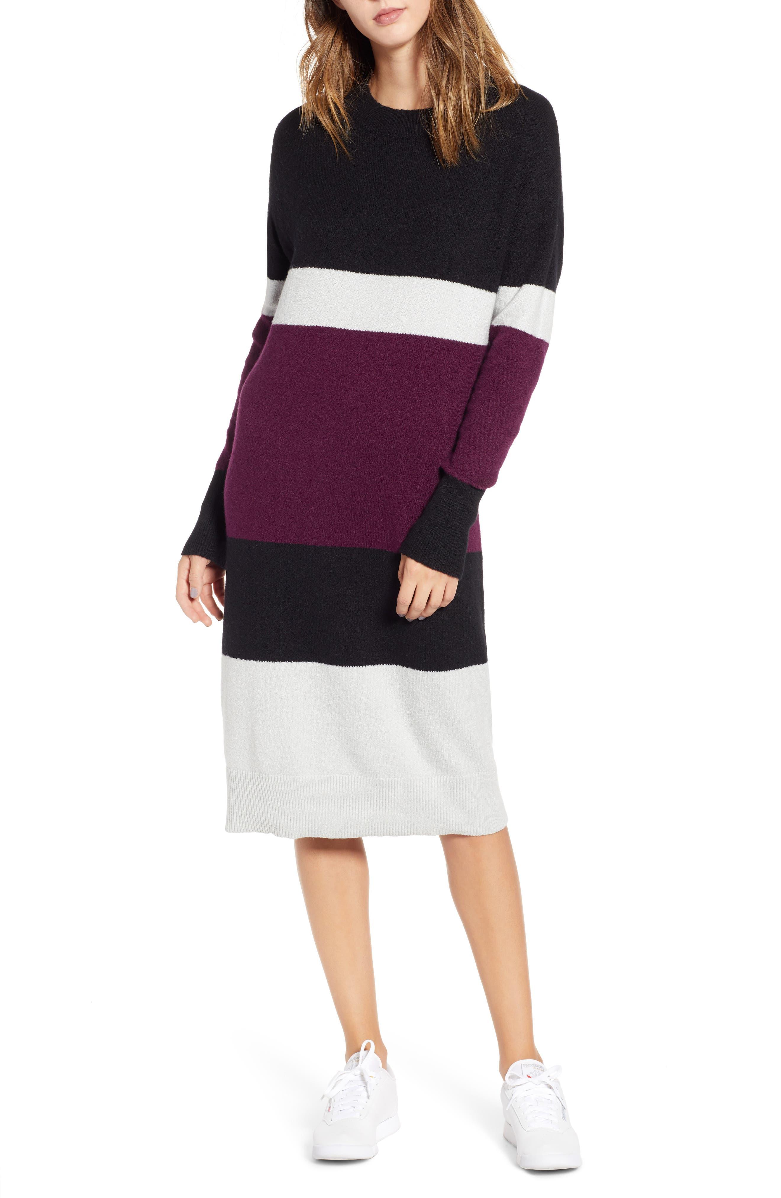 Stripe Sweater Dress,                             Main thumbnail 1, color,                             510