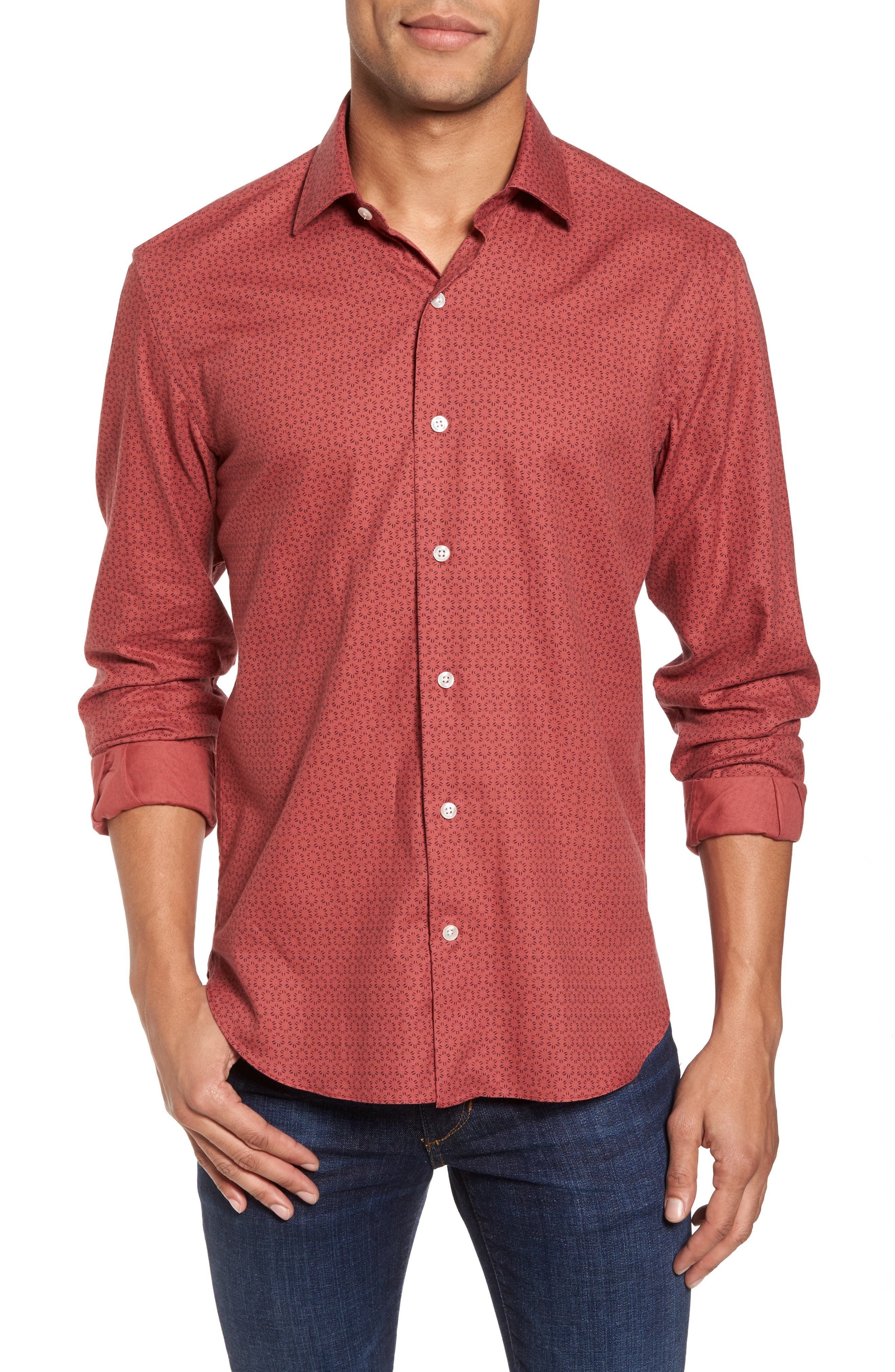 Slim Fit Print Sport Shirt,                         Main,                         color, 600