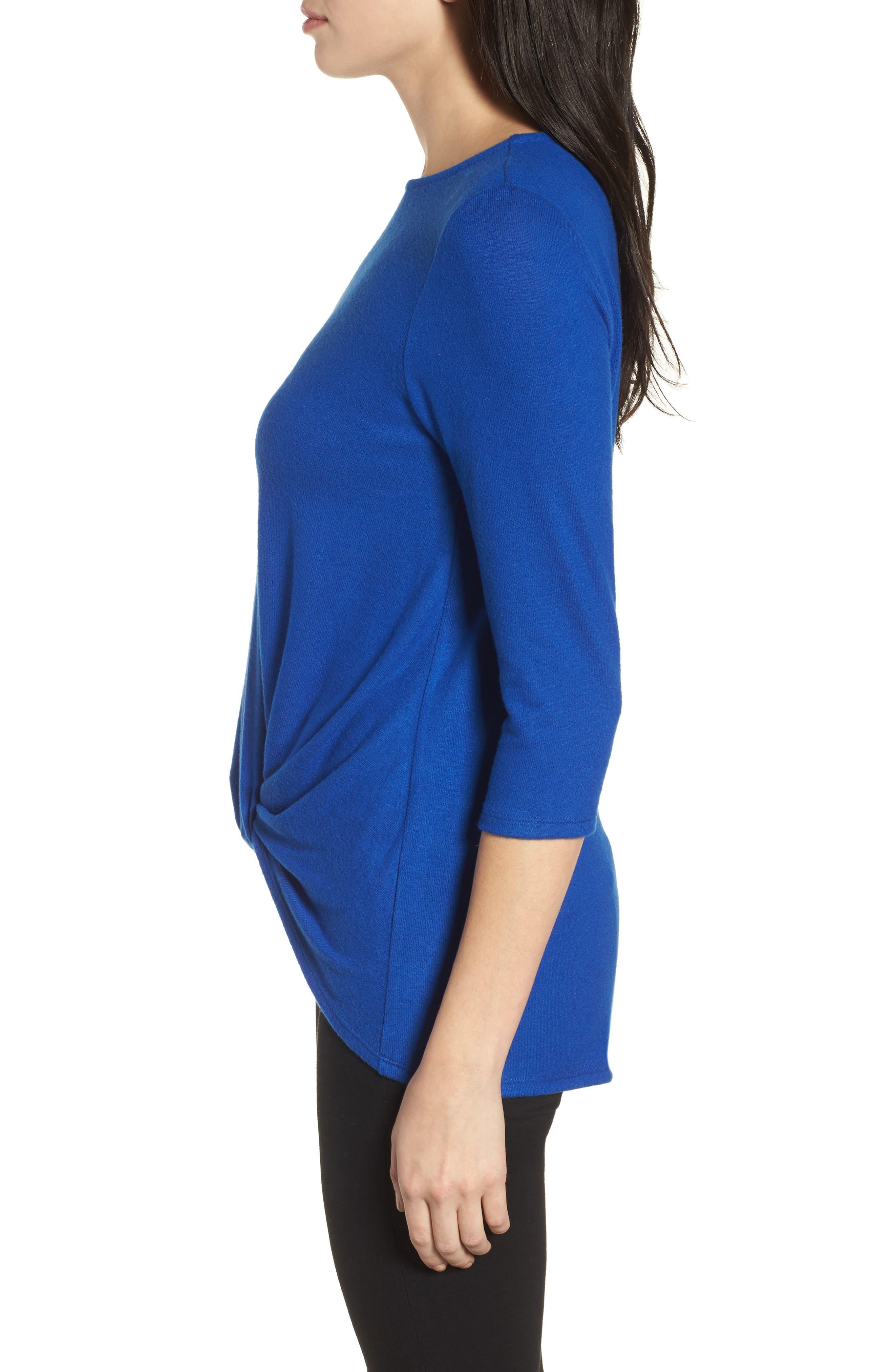 Cozy Twist Front Pullover,                             Alternate thumbnail 3, color,                             BLUE SURF