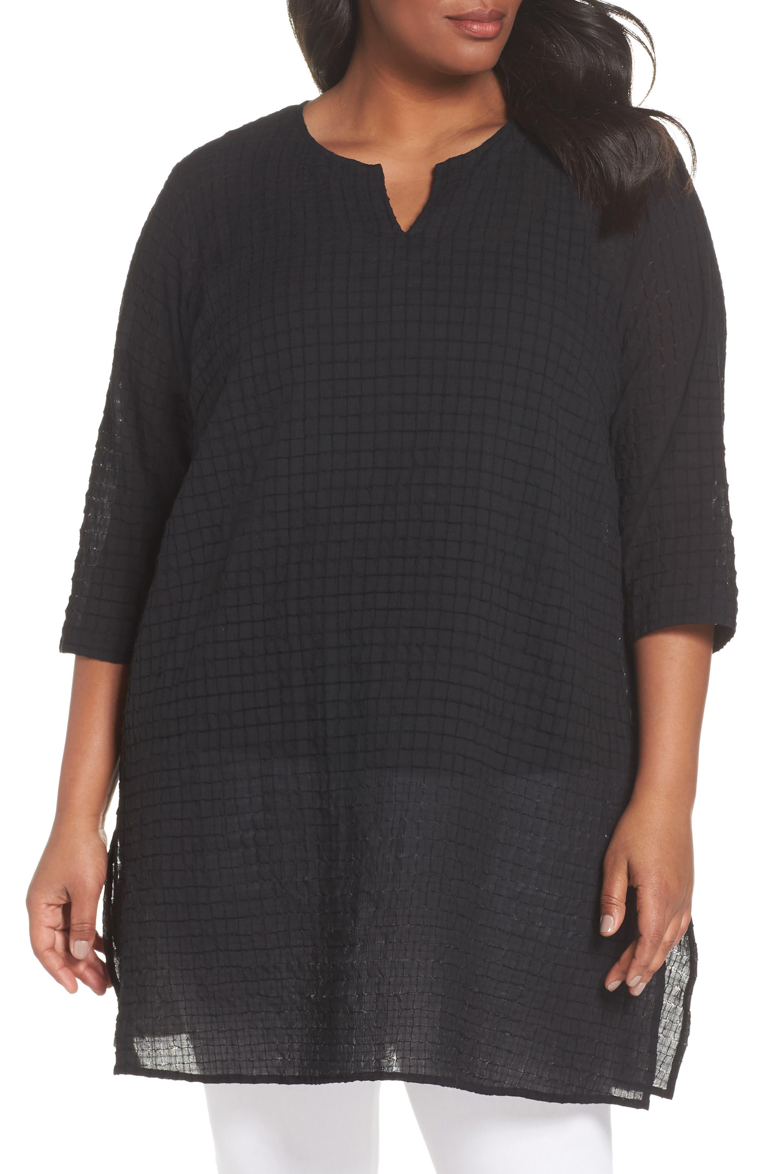 Split Neck Textured Tunic,                         Main,                         color, 001