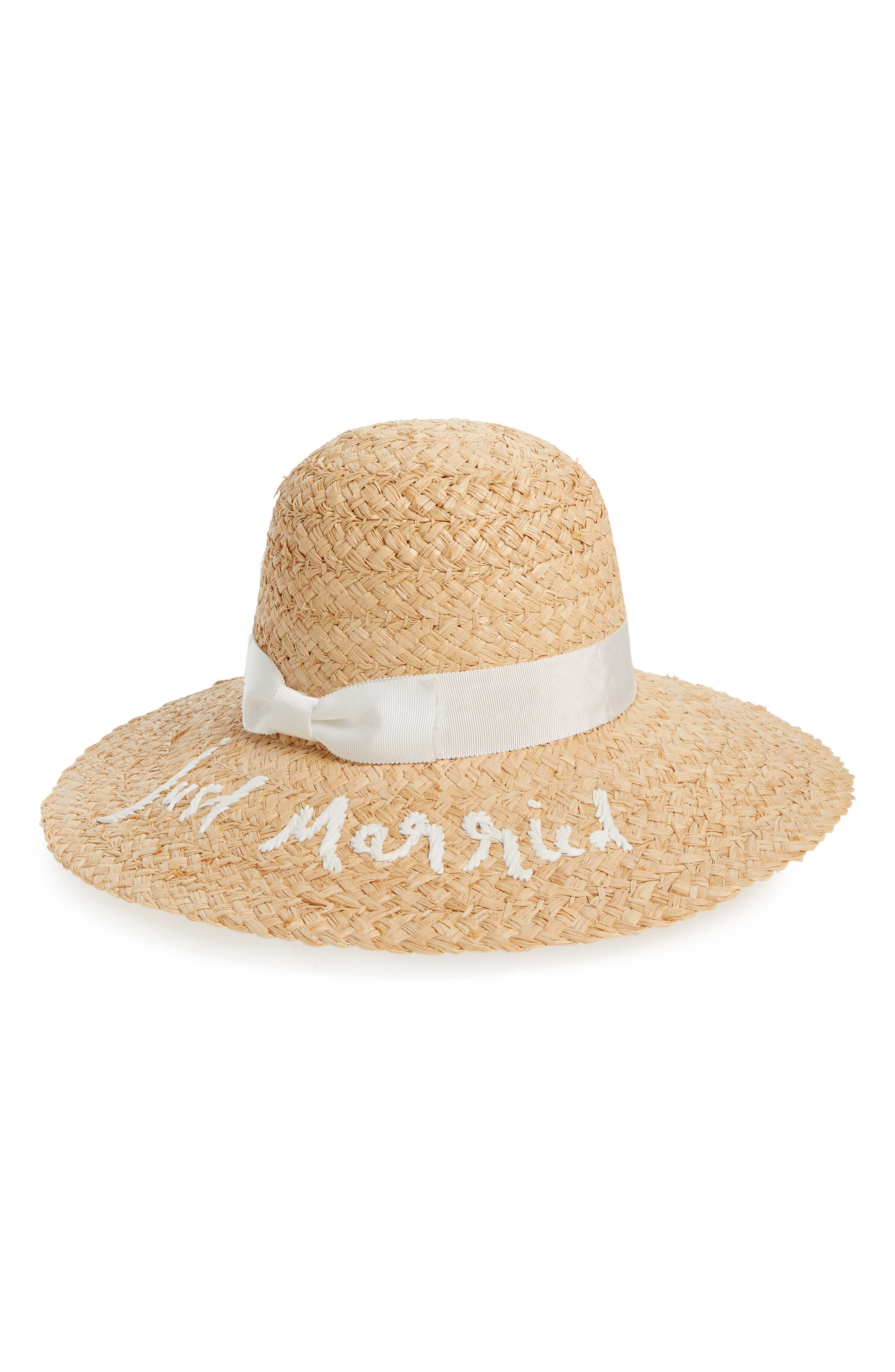 just married straw hat,                             Main thumbnail 1, color,                             200