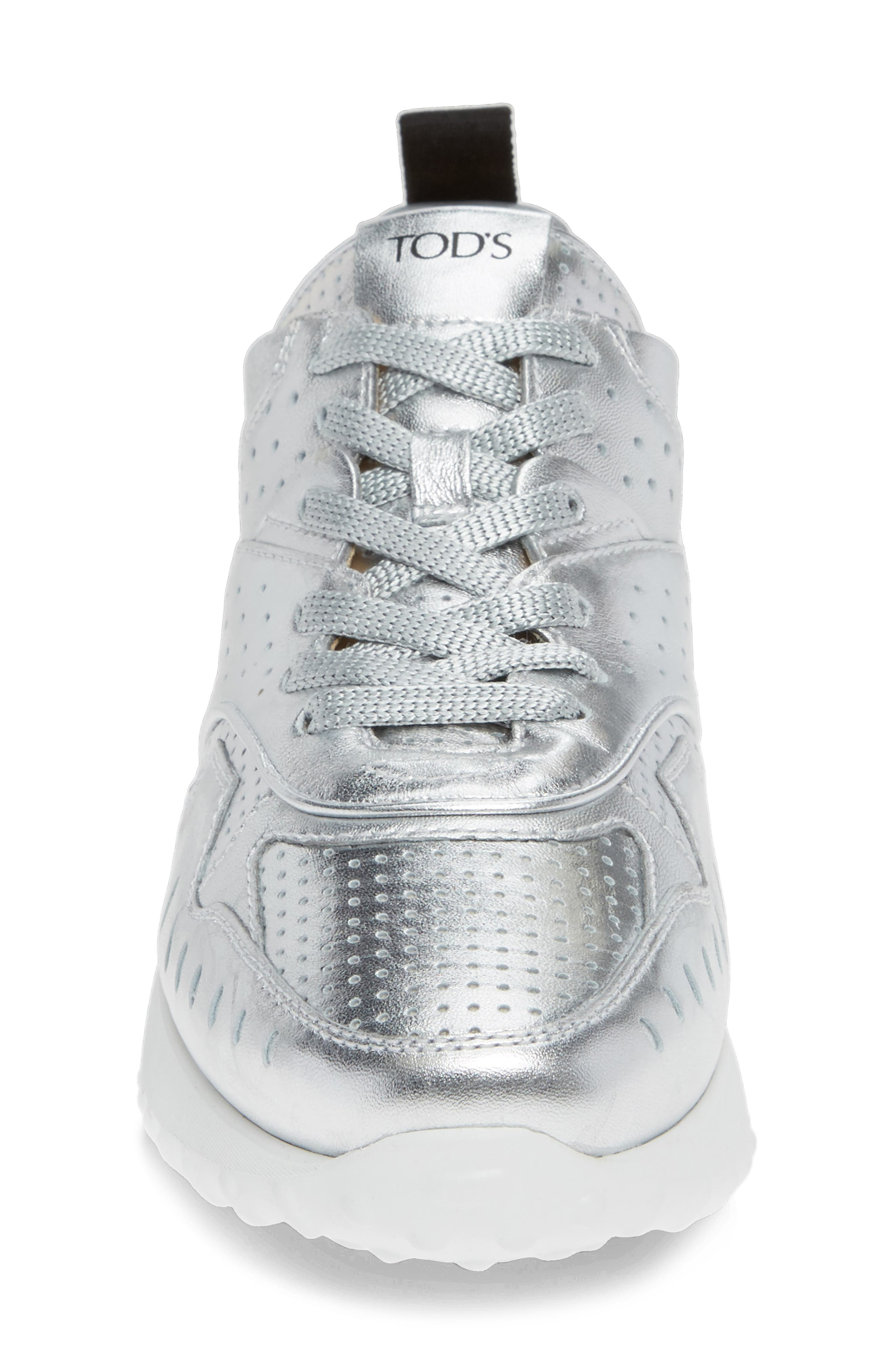 Perforated Lace-Up Sneaker,                             Alternate thumbnail 4, color,                             SILVER
