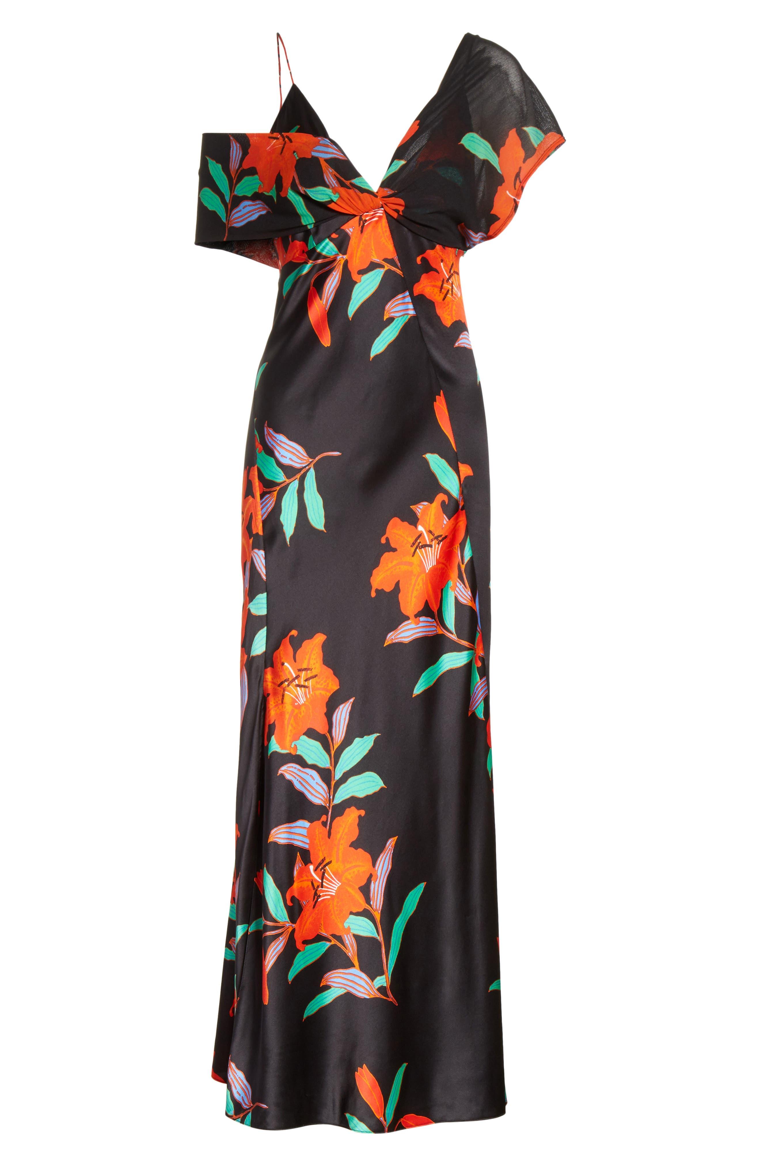 Diane von Furstenberg Asymmetrical Knotted Gown,                             Alternate thumbnail 6, color,                             001