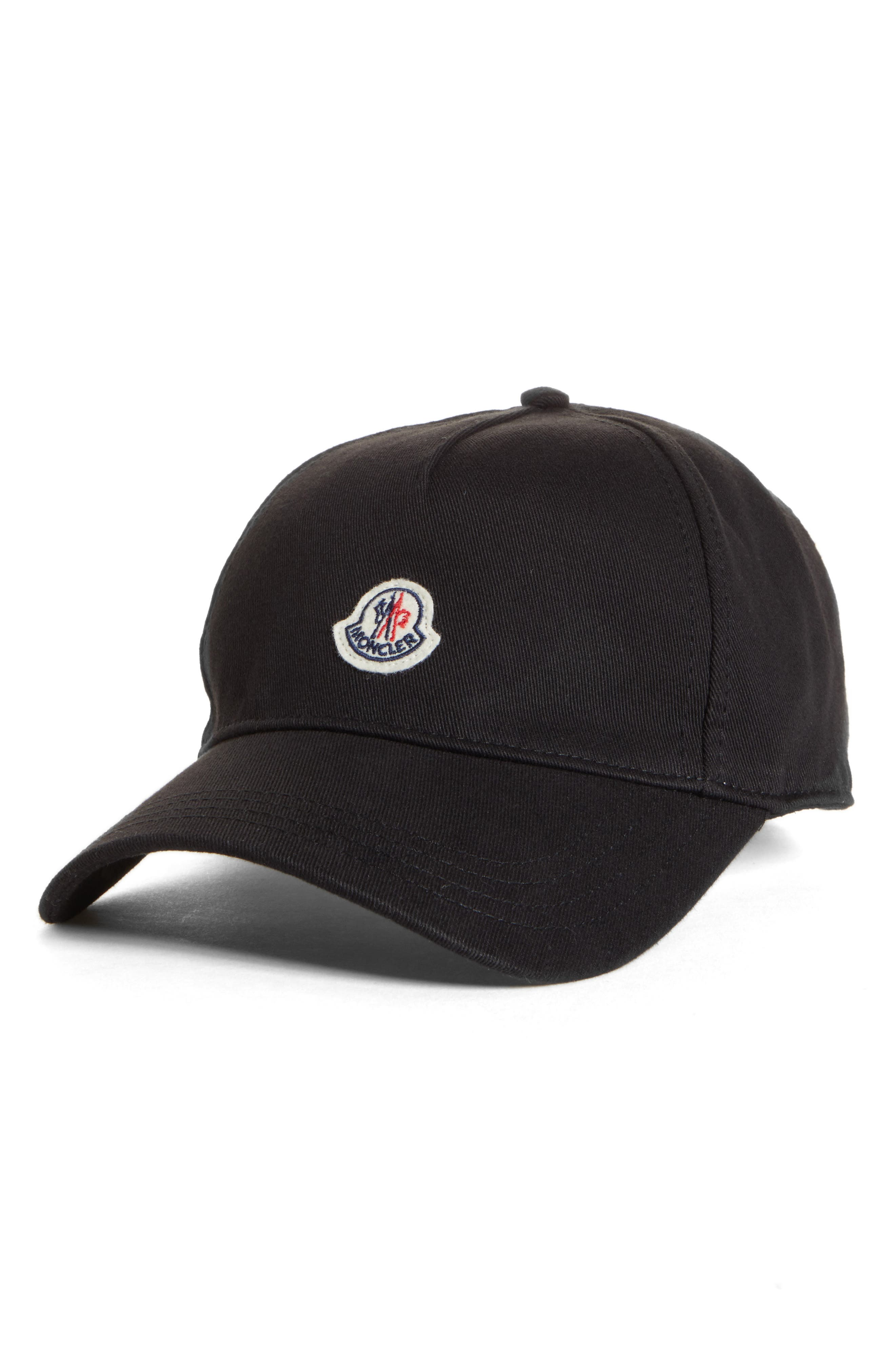 Moncler Logo Patch Baseball Cap - Black In 999 Black  d43385b3eca