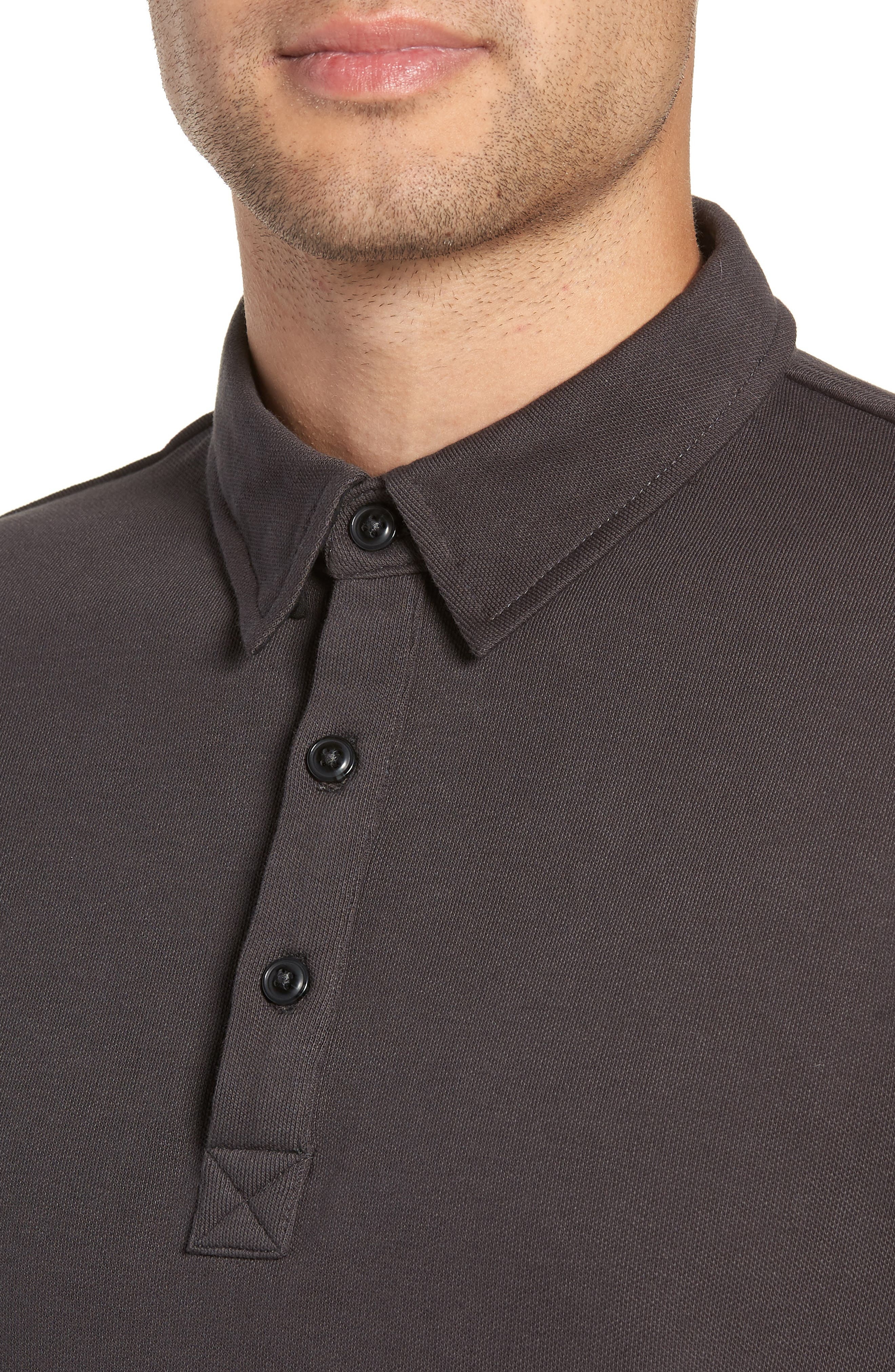 Texture Trim Fit Long Sleeve Polo,                             Alternate thumbnail 4, color,                             081