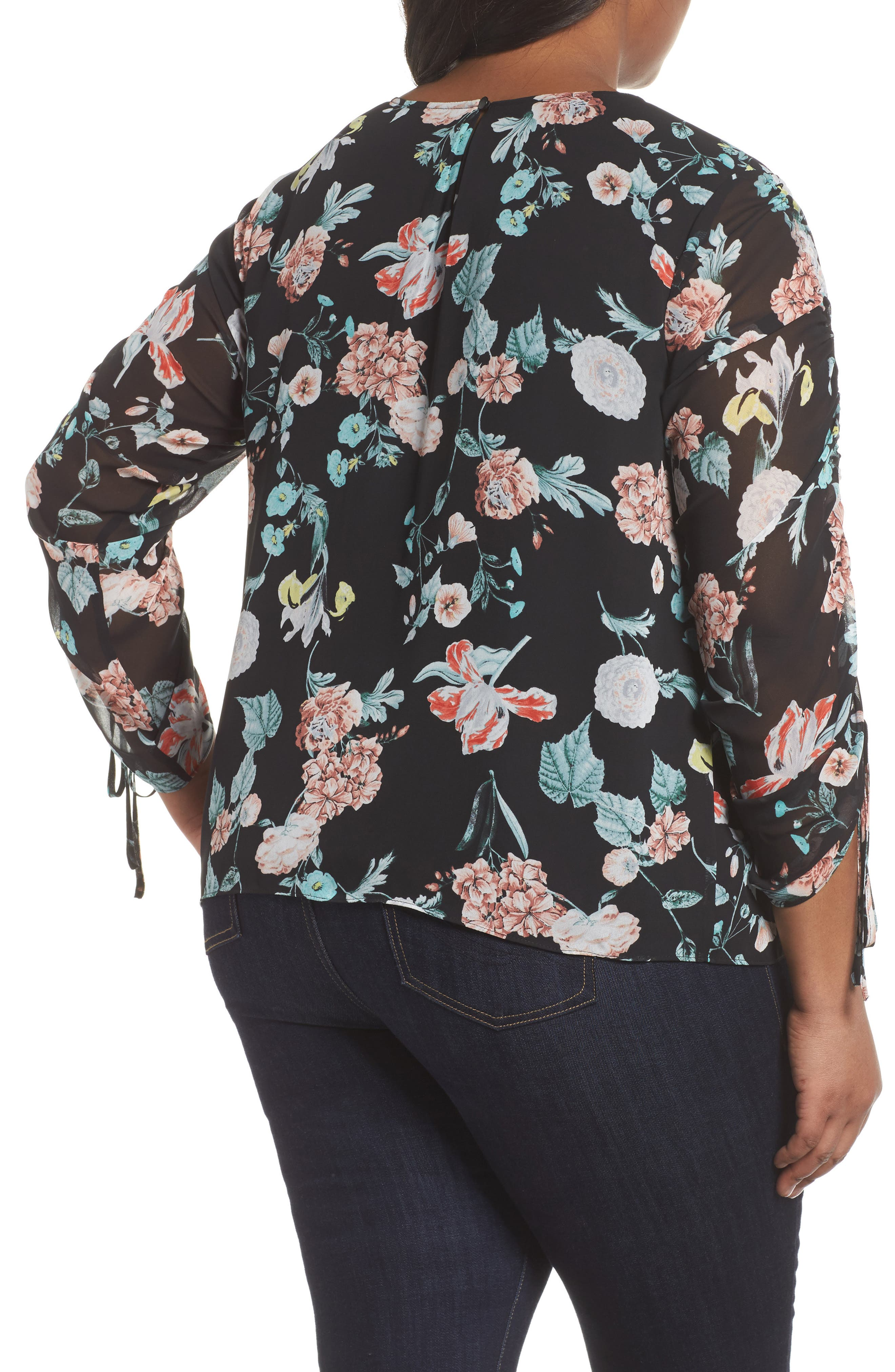 Floral Gardens Drawstring Sleeve Blouse,                             Alternate thumbnail 2, color,                             010