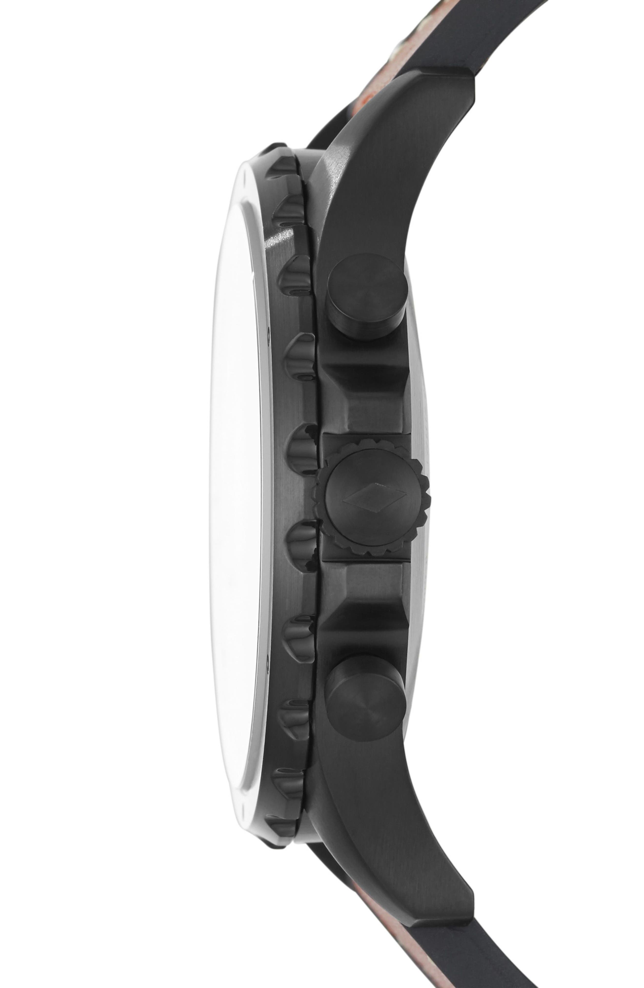 Nate Leather Strap Hybrid Smart Watch, 50mm,                             Alternate thumbnail 4, color,                             BROWN/ BLACK